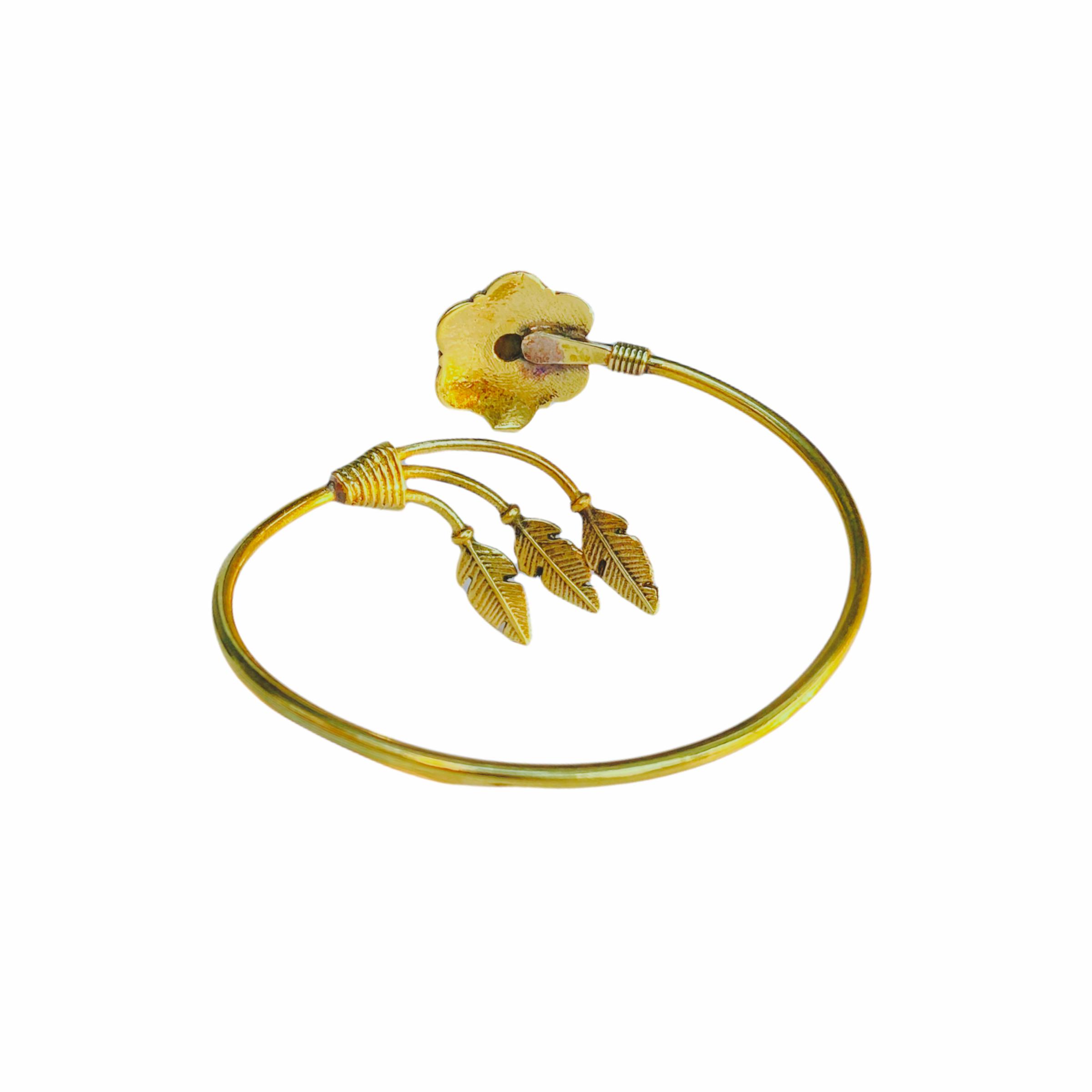Βραχιόλι Χειροποίητο Λουλούδι Με Μάτι Της Τίγρης Σε Χρυσό Χρώμα
