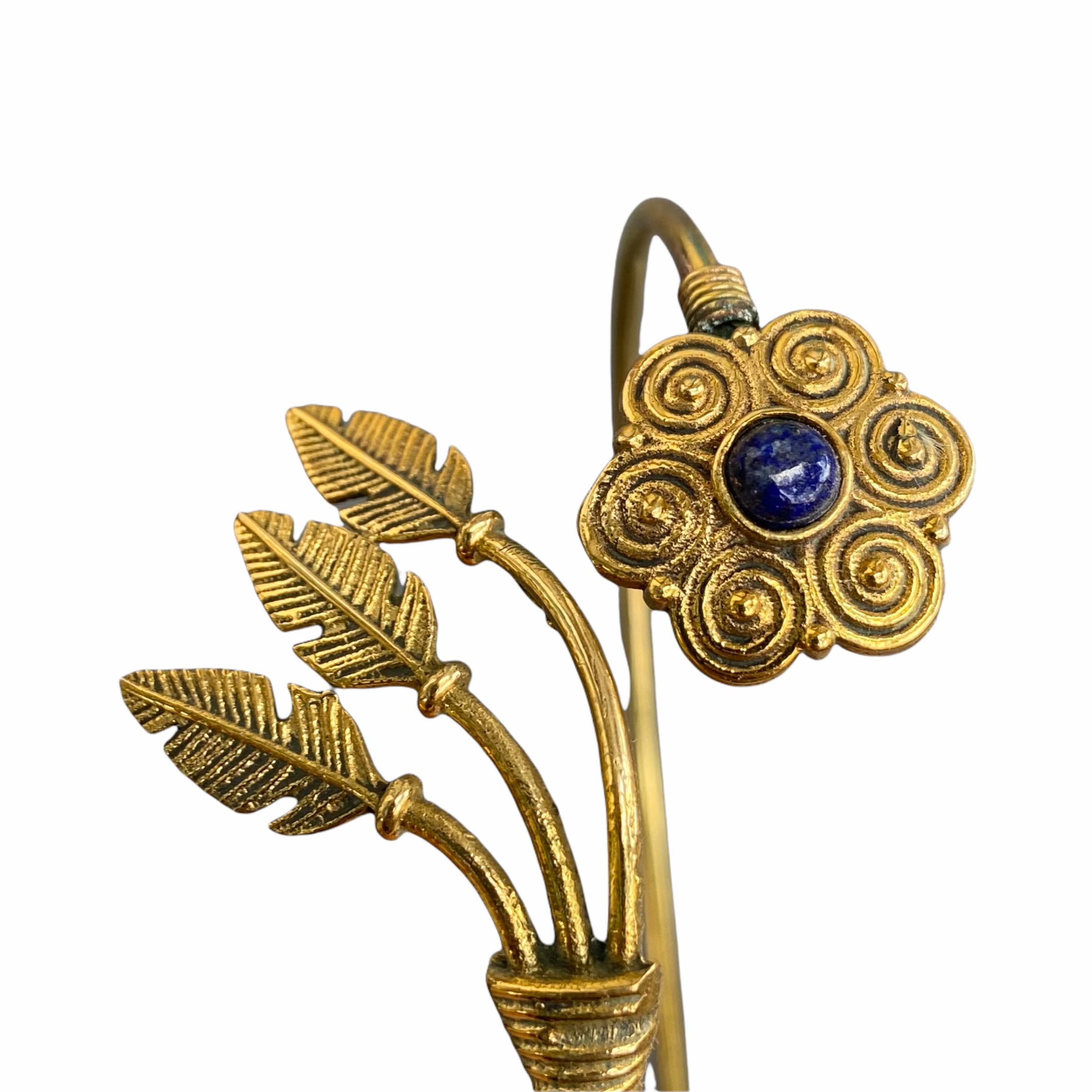 Βραχιόλι Χειροποίητο Λουλούδι Με Λάπις Λάζουλι Σε Χρυσό Χρώμα