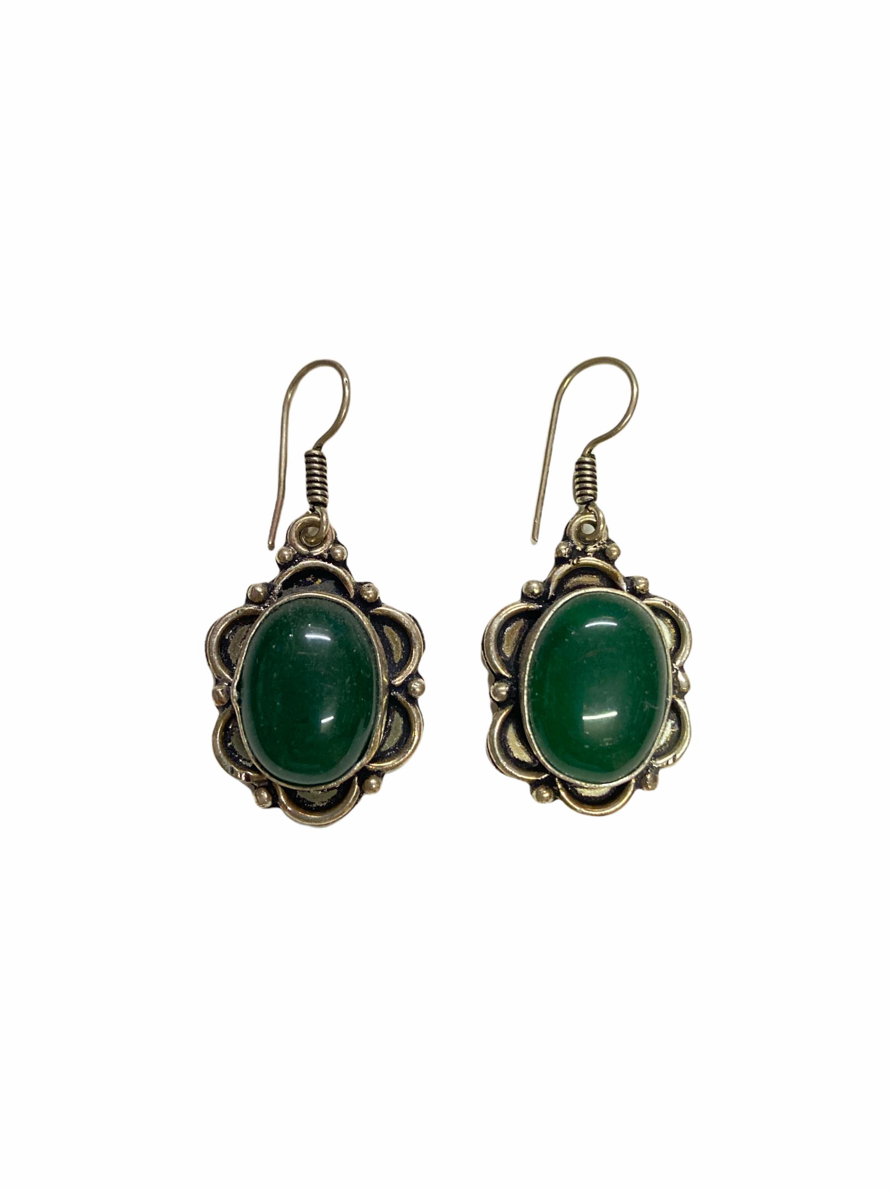 Σκουλαρίκια Χειροποίητα Μαργαρίτες Με Πράσινο Αχάτη Ασημί