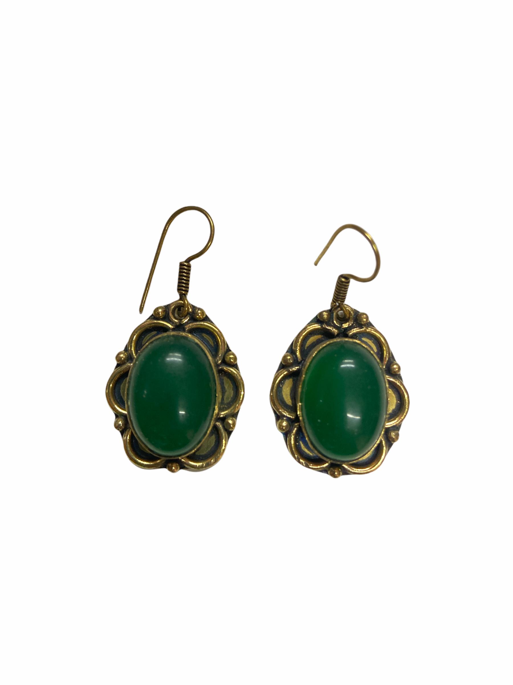 Σκουλαρίκια Χειροποίητα Μαργαρίτες Με Πράσινος Αχάτης Σε Χρυσό Χρώμα