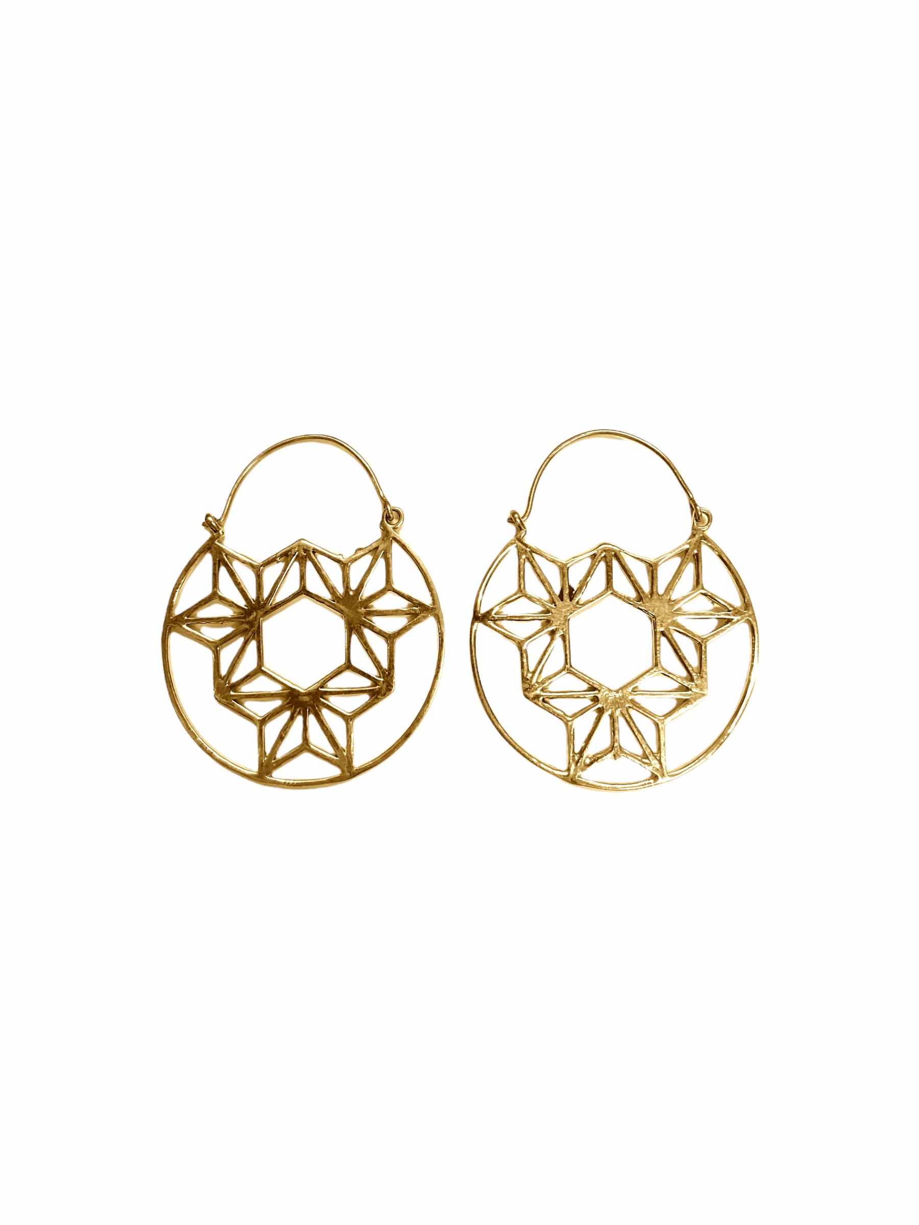 Σκουλαρίκια Χειροποίητα Ethnic Σε Χρυσό Χρώμα