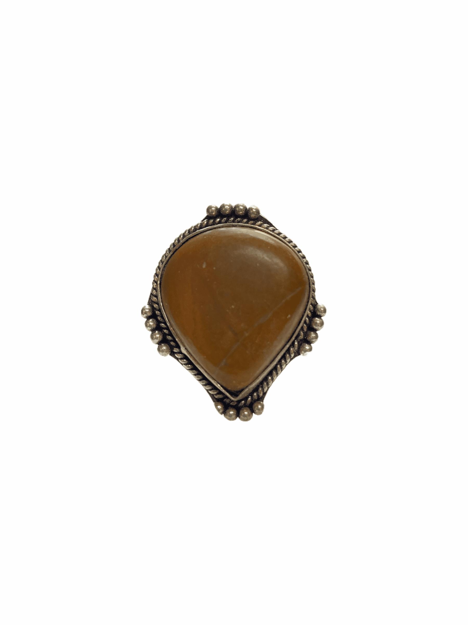 Δαχτυλίδι Χειροποίητο Με Καφέ Αχάτη Ασημί