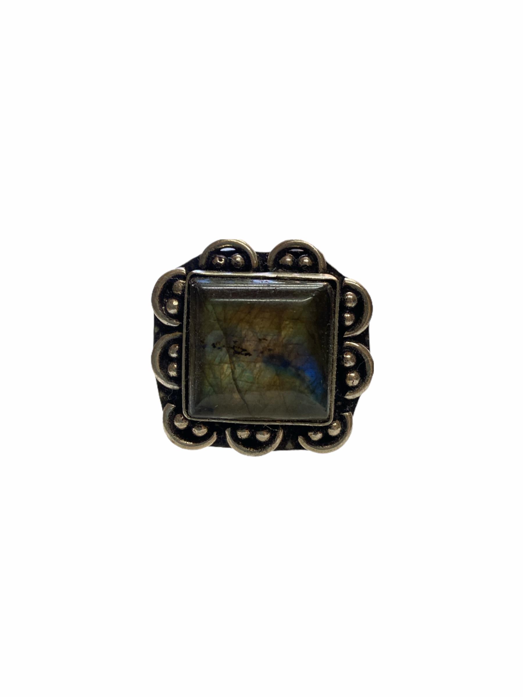 Δαχτυλίδι Χειροποίητο Με Λαμπραδορίτη Ασημί