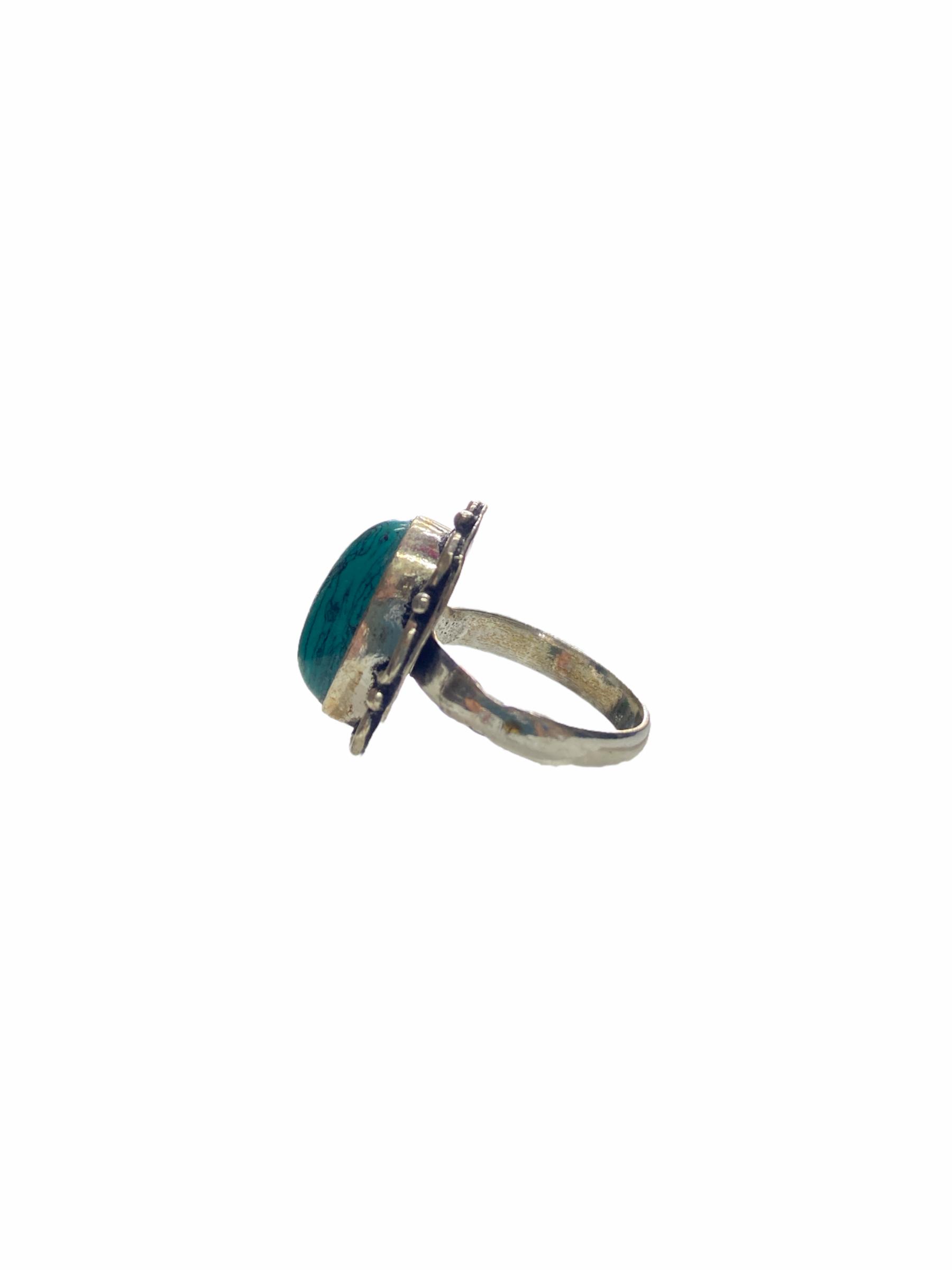 Δαχτυλίδι Χειροποίητο Τιρκουάζ Με Ασημί