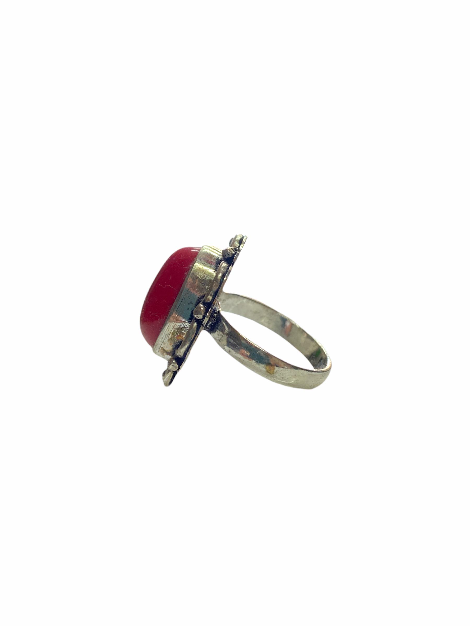 Δαχτυλίδι Χειροποίητο Με Κορνεόλη Ασημί