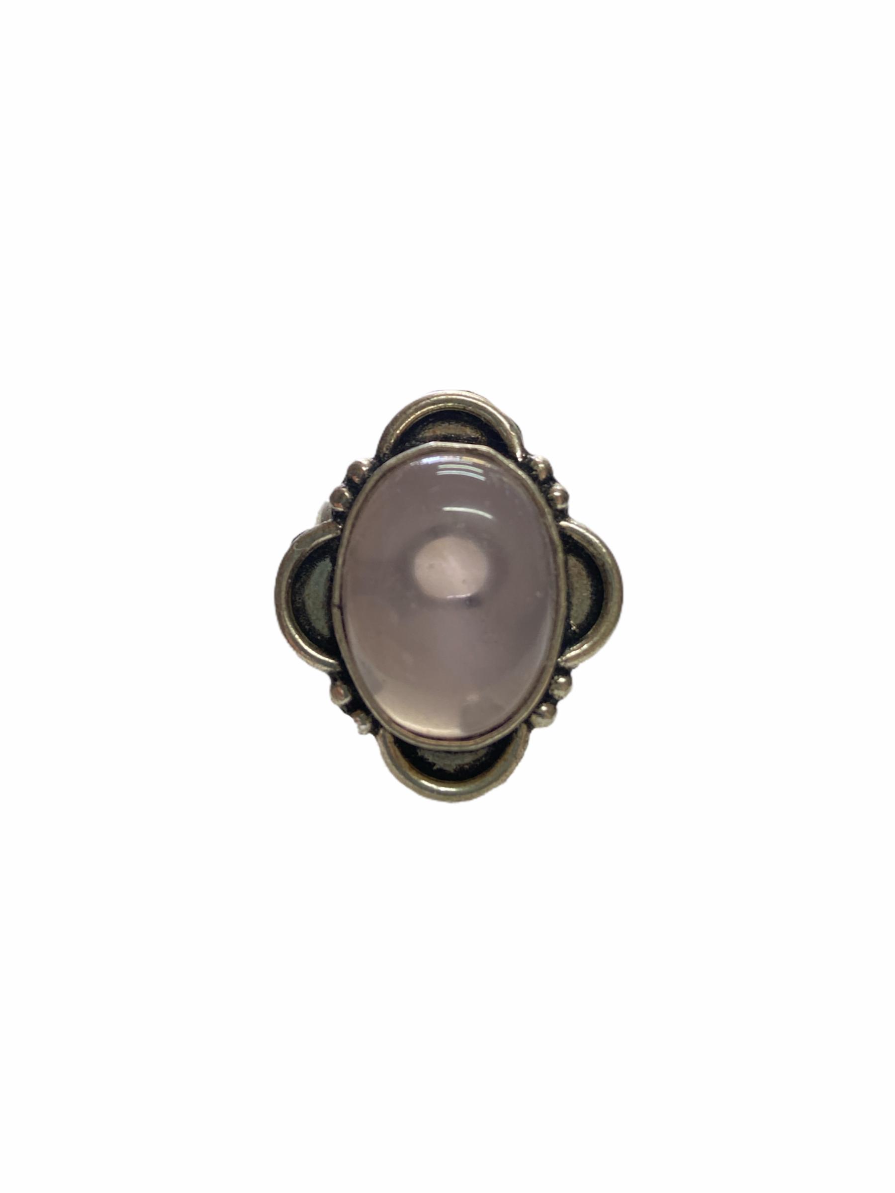 Δαχτυλίδι Χειροποίητο Με Ροζ Χαλαζία Ασημί