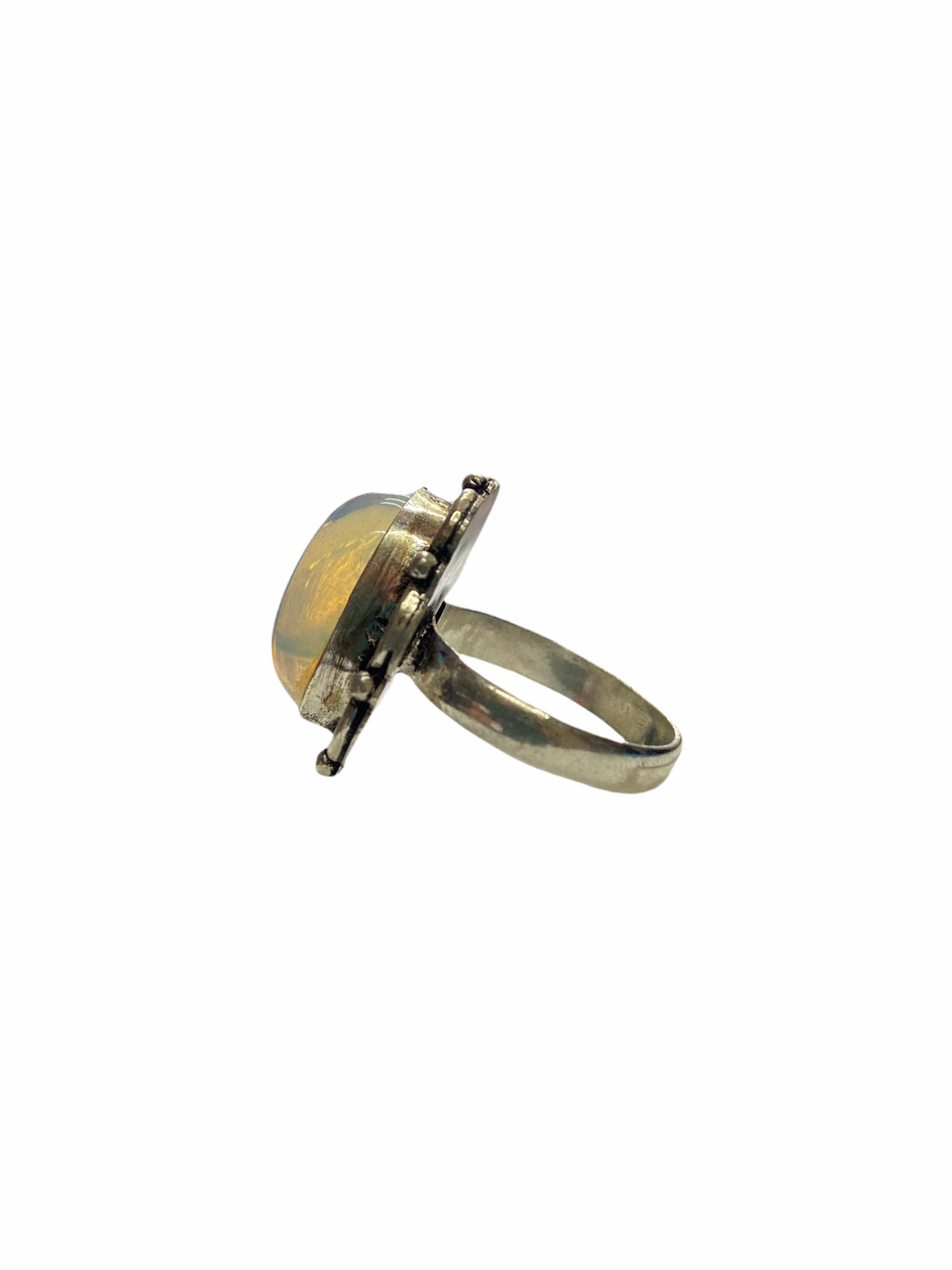 Δαχτυλίδι Χειροποίητο Με Διάφανο Χαλαζία Ασημί