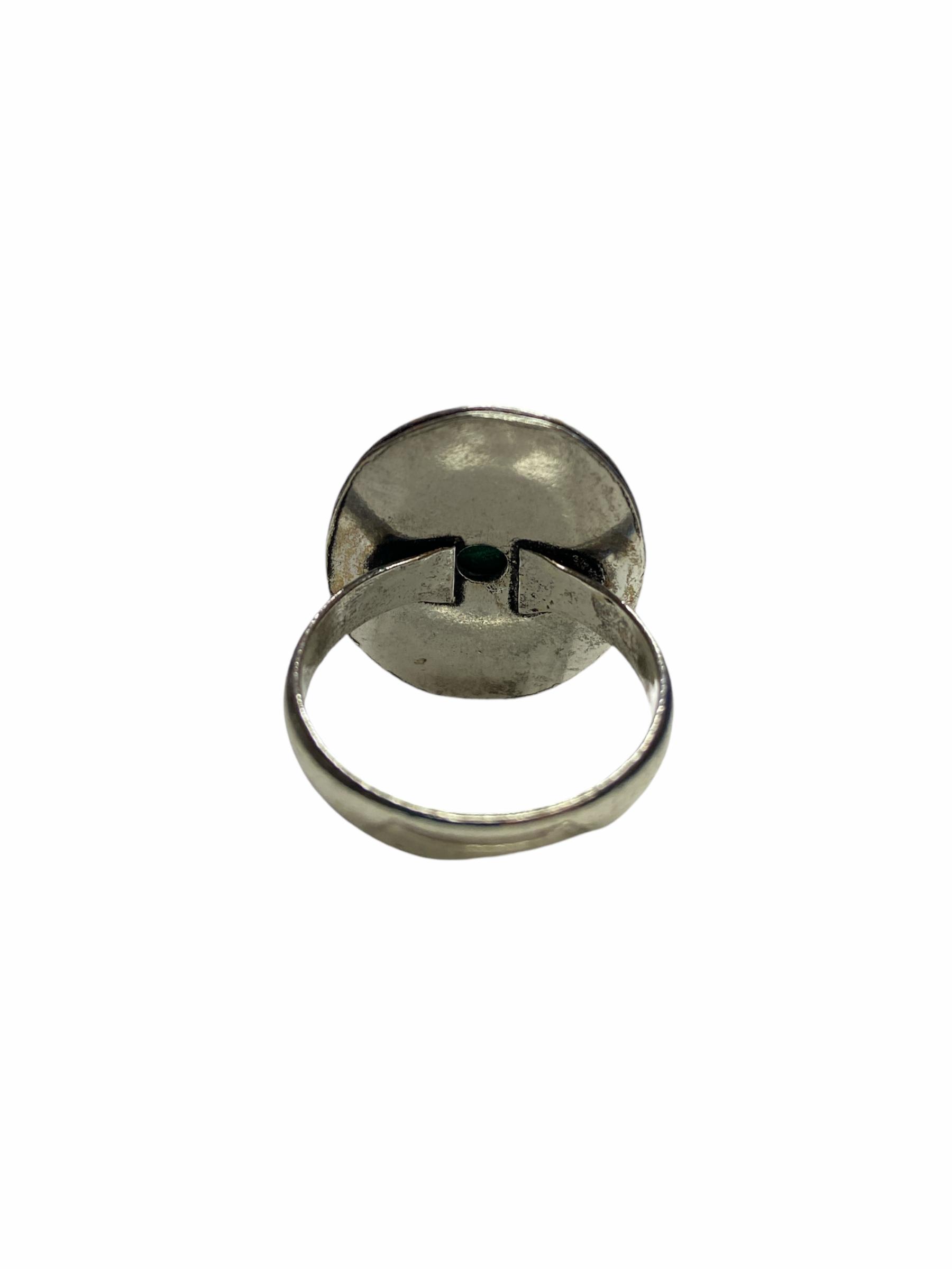 Δαχτυλίδι Χειροποίητο Με Μαλαχίτη Ασημί
