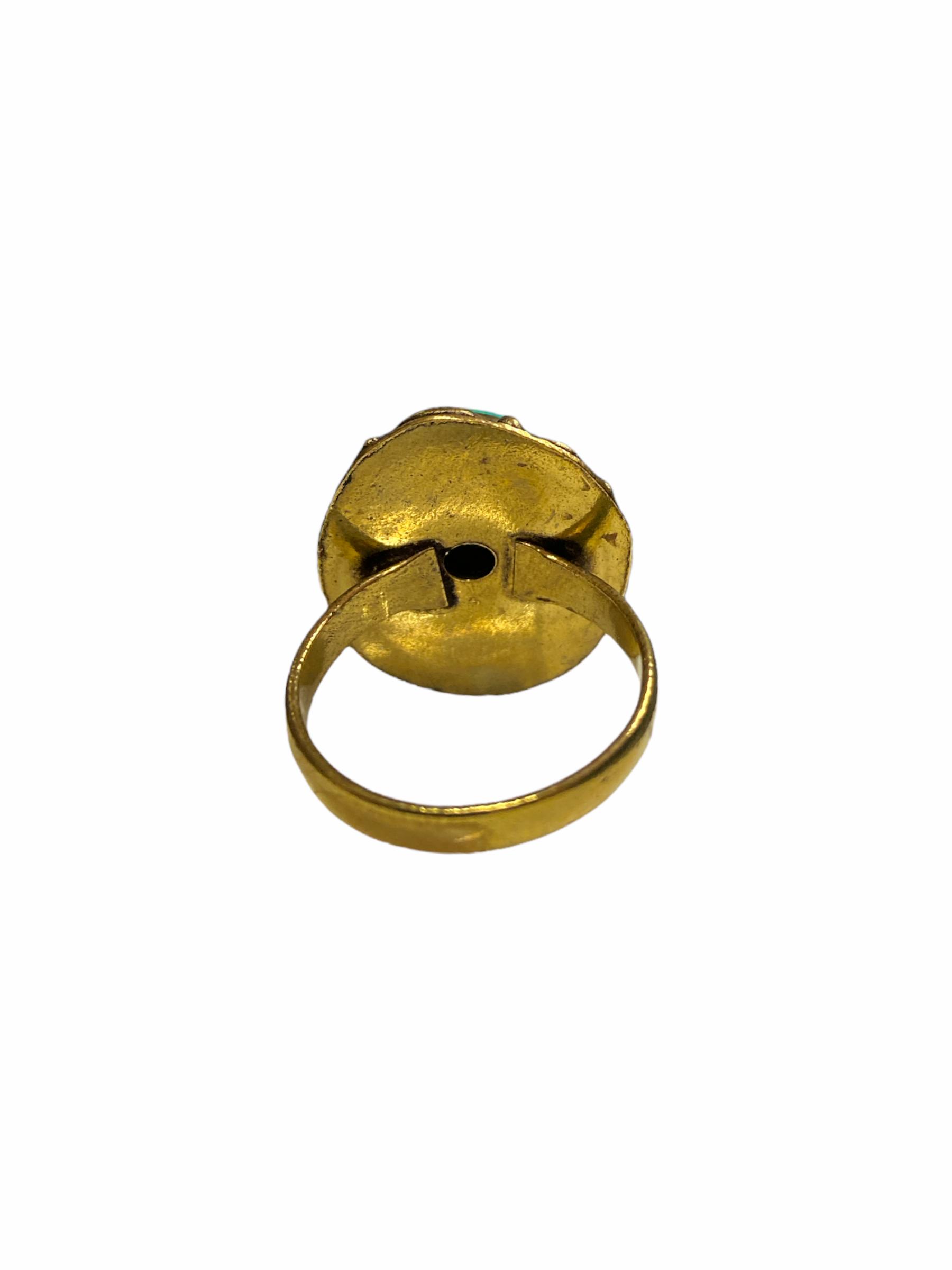 Δαχτυλίδι Χειροποίητο Με Τιρκουάζ Σε Χρυσό Χρώμα