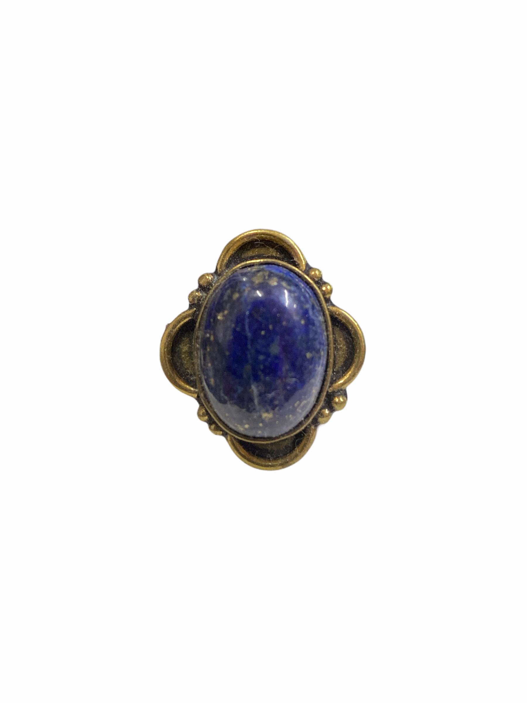 Δαχτυλίδι Χειροποίητο Με Λάπι Λάζουλι Σε Χρυσό Χρώμα
