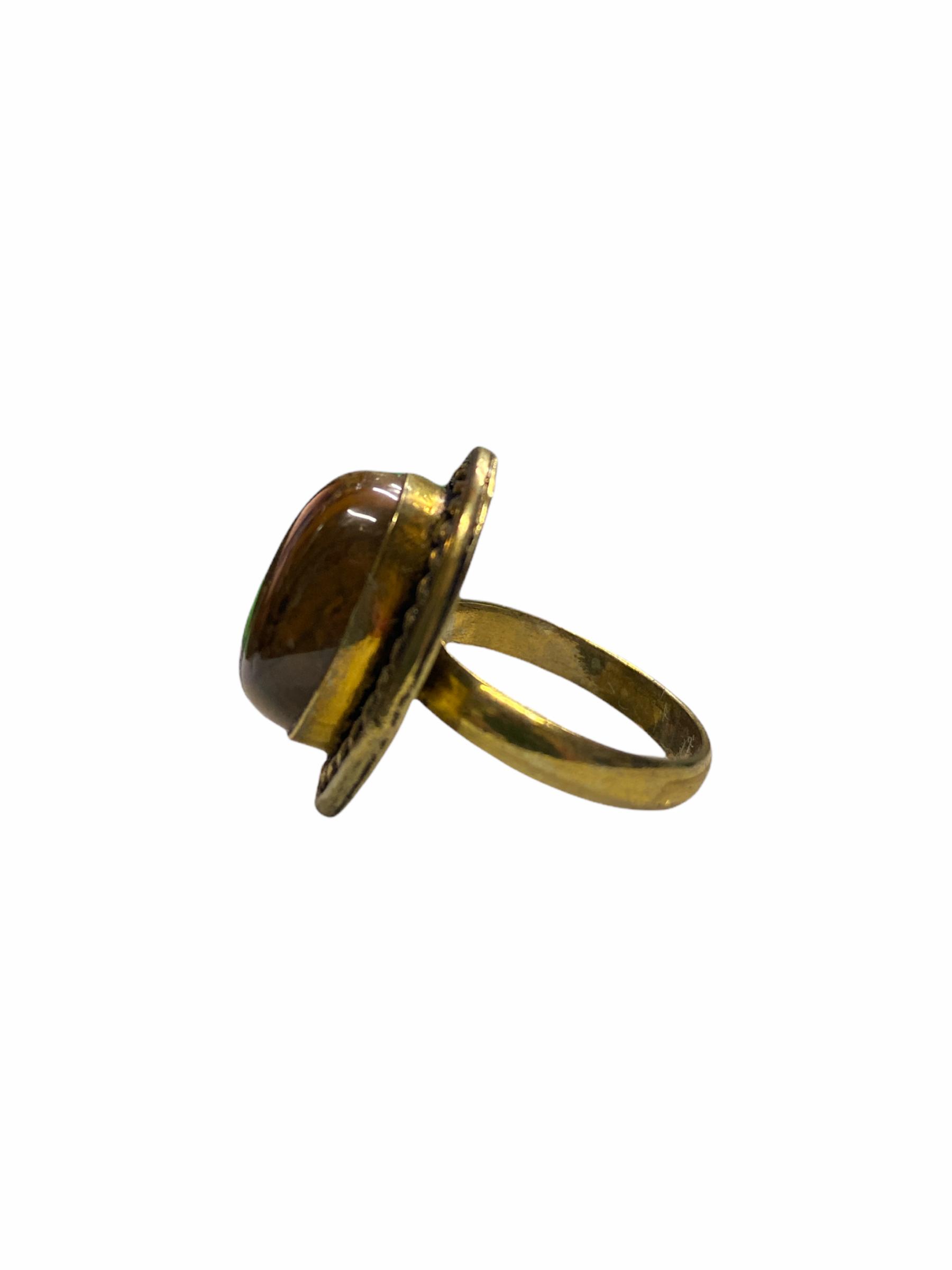 Δαχτυλίδι Χειροποίητο Με Μάτι Της Τίγρης Σε Χρυσό Χρώμα
