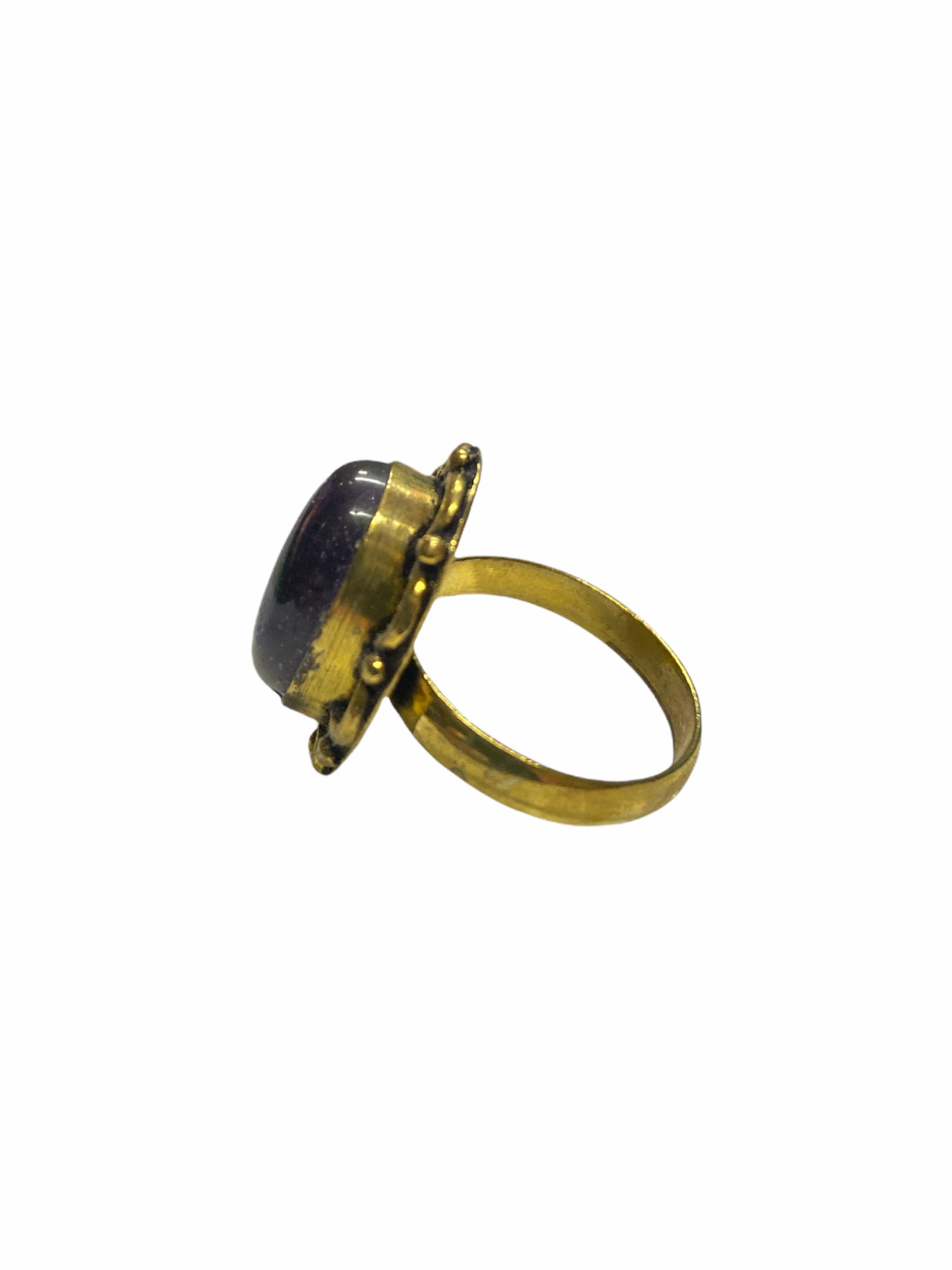 Δαχτυλίδι Χειροποίητο Με Αμέθυστο Σε Χρυσό Χρώμα