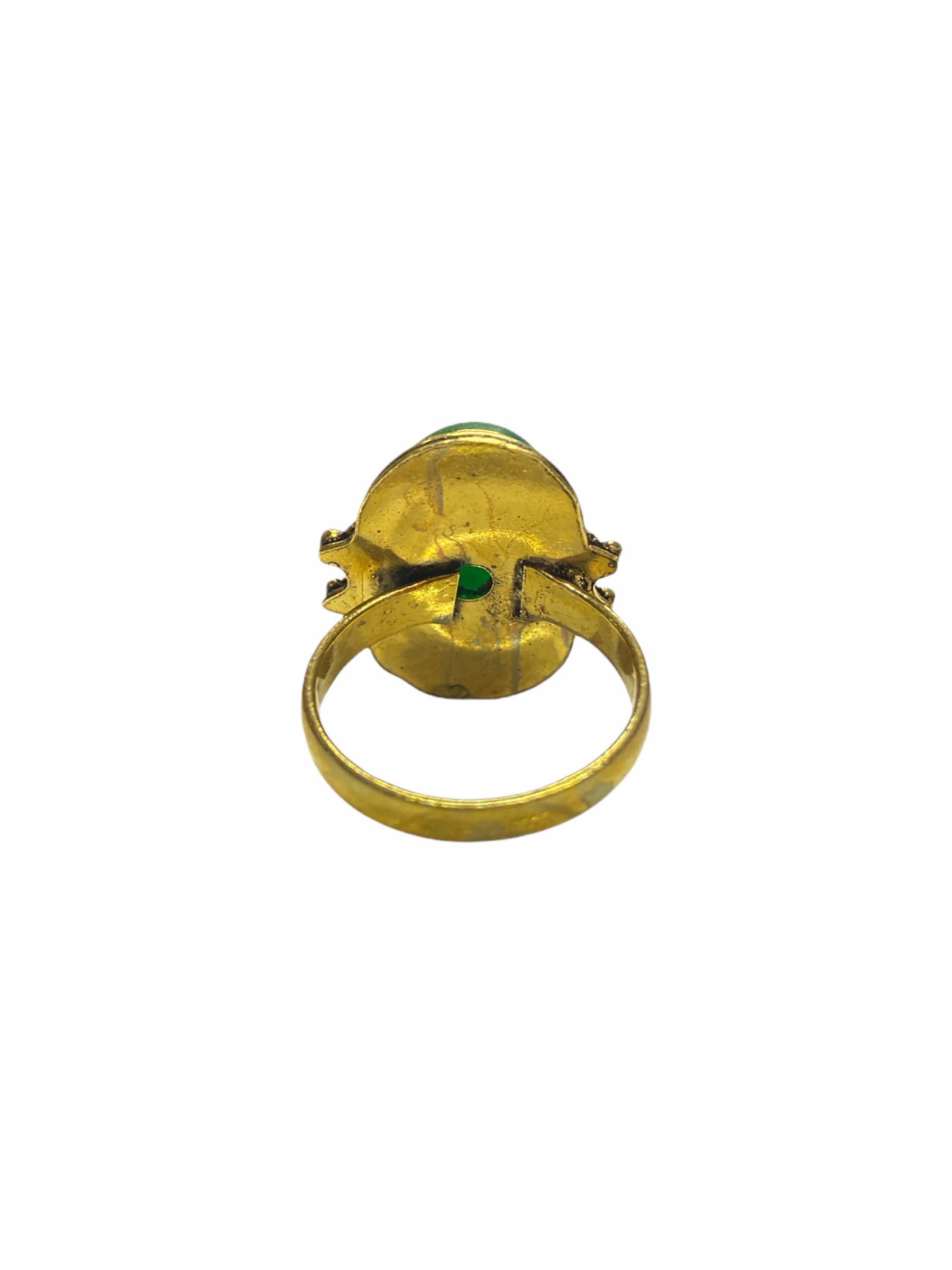 Δαχτυλίδι Χειροποίητο Με Αβεντουρίνη Σε Χρυσό Χρώμα