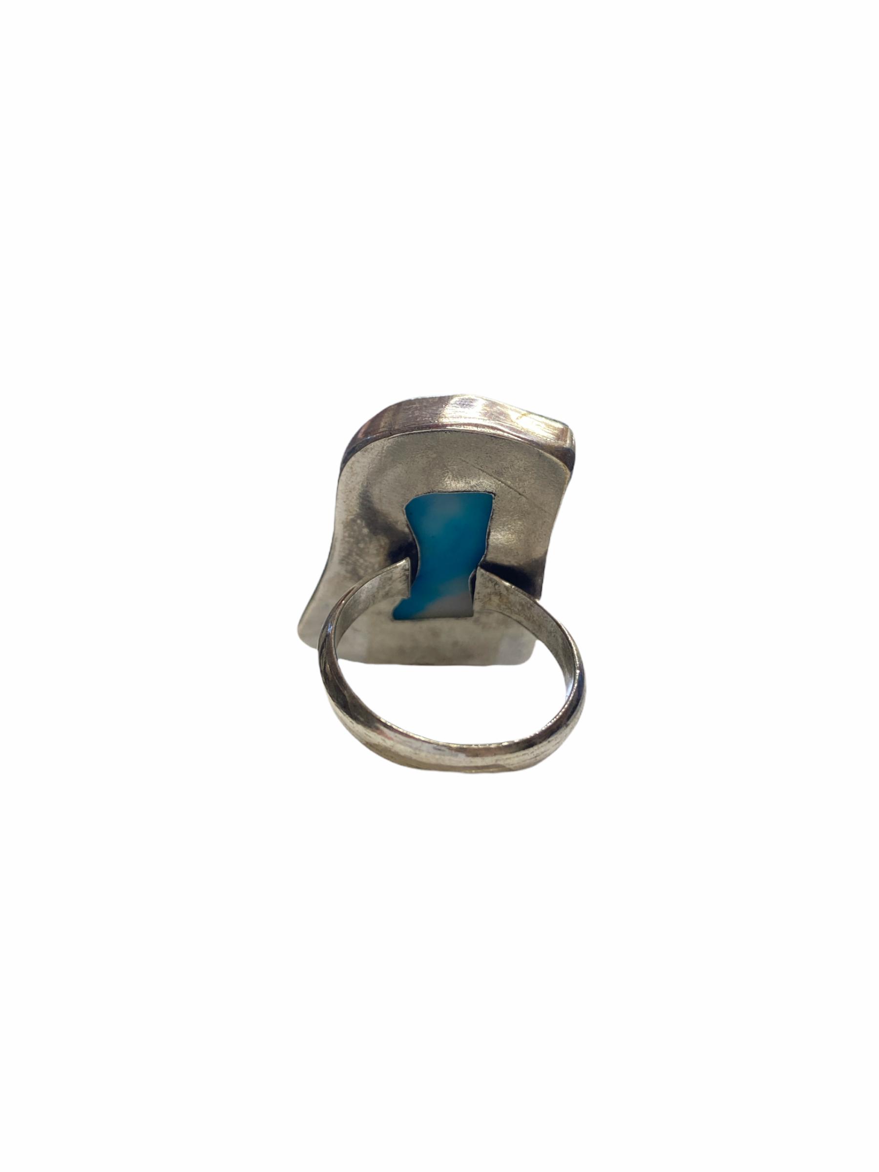 Δαχτυλίδι Χειροποίητο Με Αχάτη Ασημί