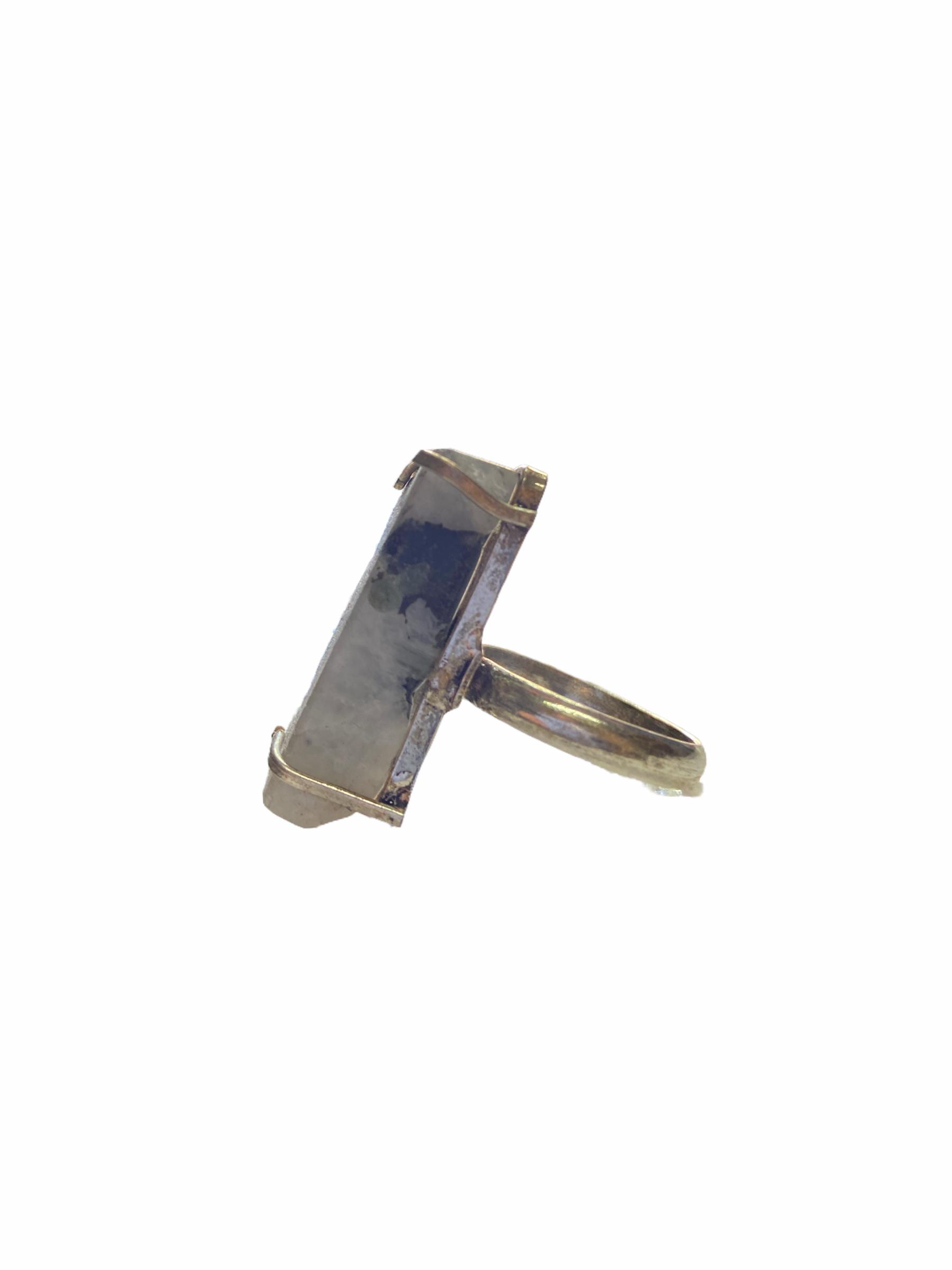 Δαχτυλίδι Χειροποίητο Ακατέργαστο Με Αιματίτη Ασημί