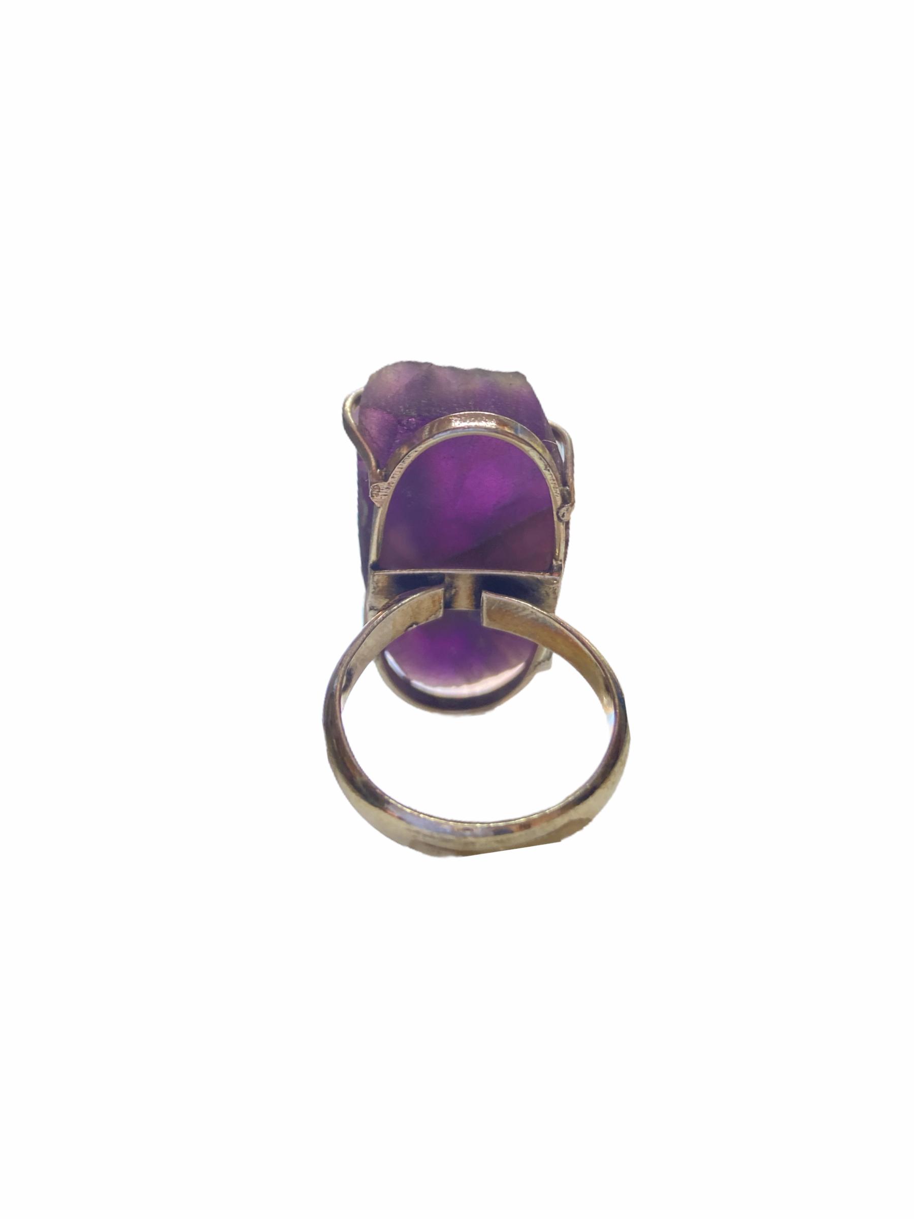 Δαχτυλίδι Χειροποίητο Ακατέργαστο Με Αμέθυστο Ασημί