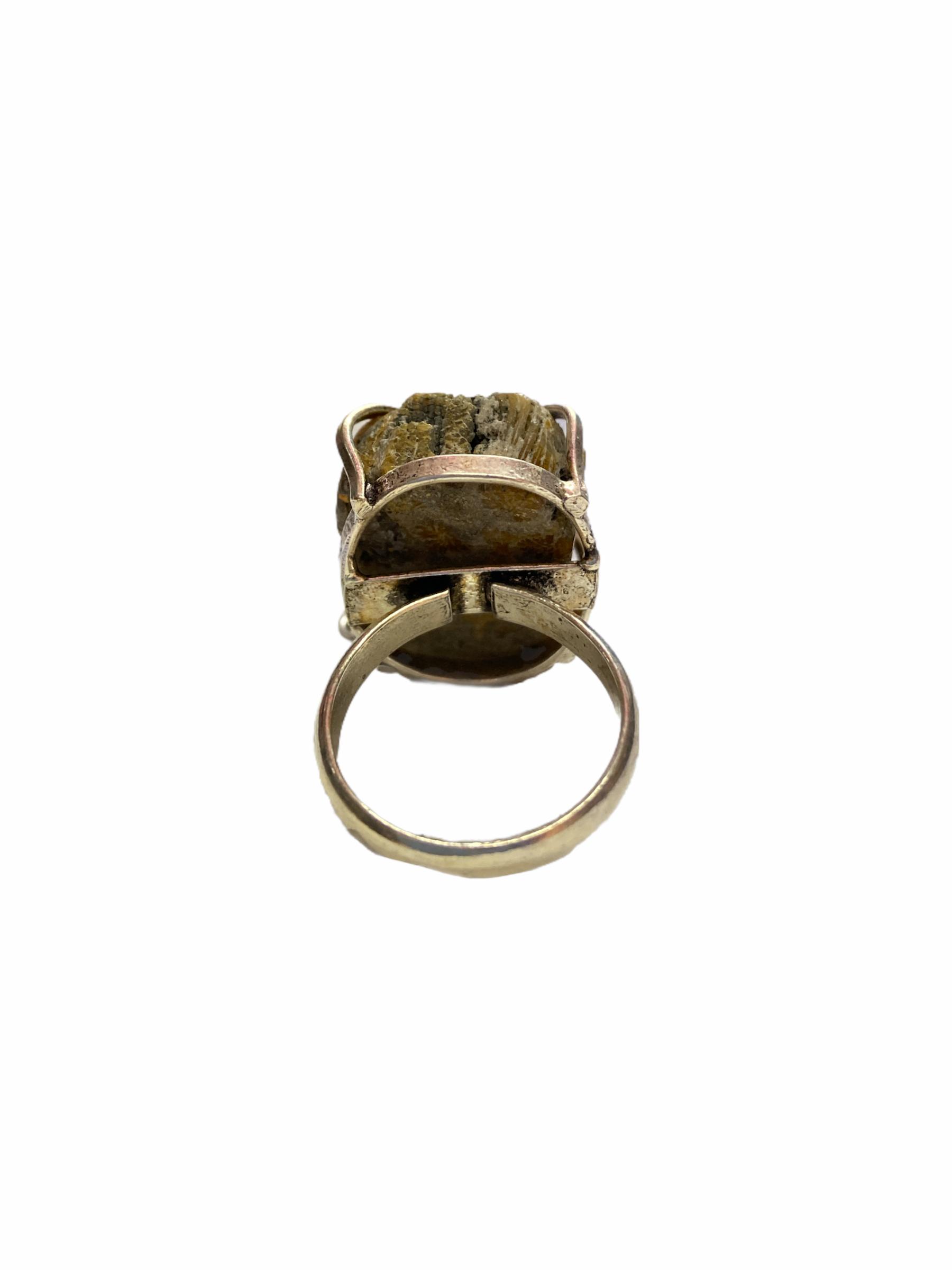 Δαχτυλίδι Χειροποίητο Ακατέργαστο Με Ίασπι Ασημί