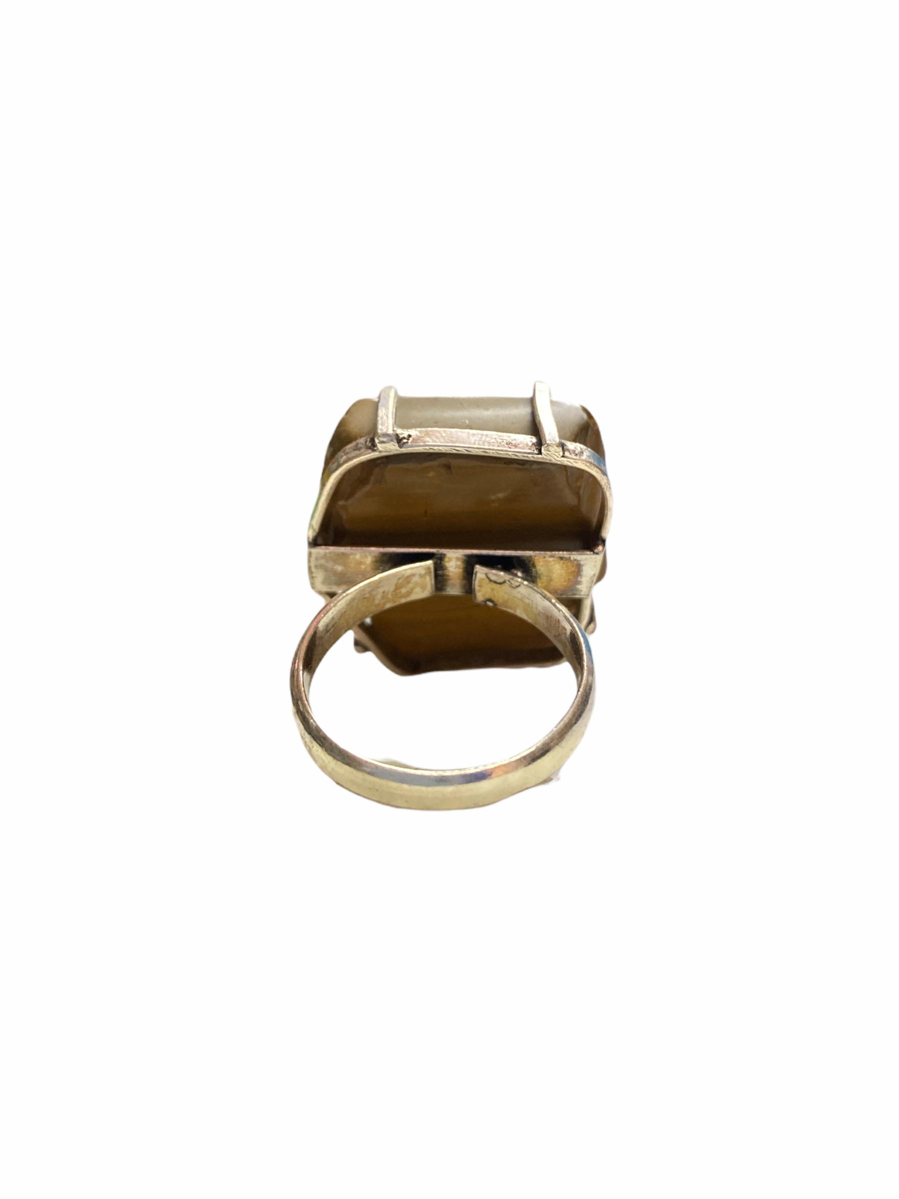 Δαχτυλίδι Χειροποίητο Ακατέργαστο Με Ίασπη Ασημί