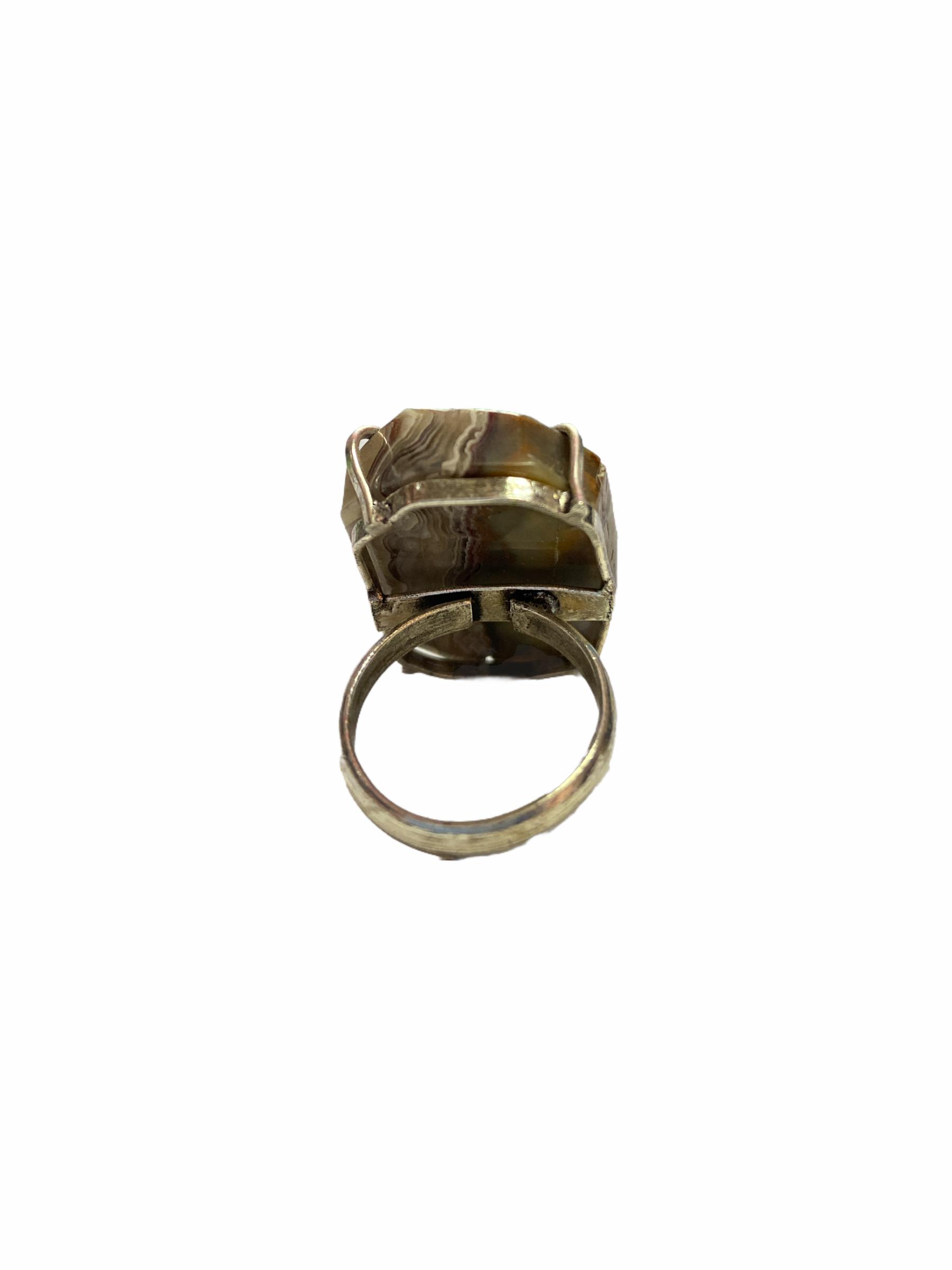 Δαχτυλίδι Χειροποίητο Ακατέργαστο Με Αχάτη Ασημί