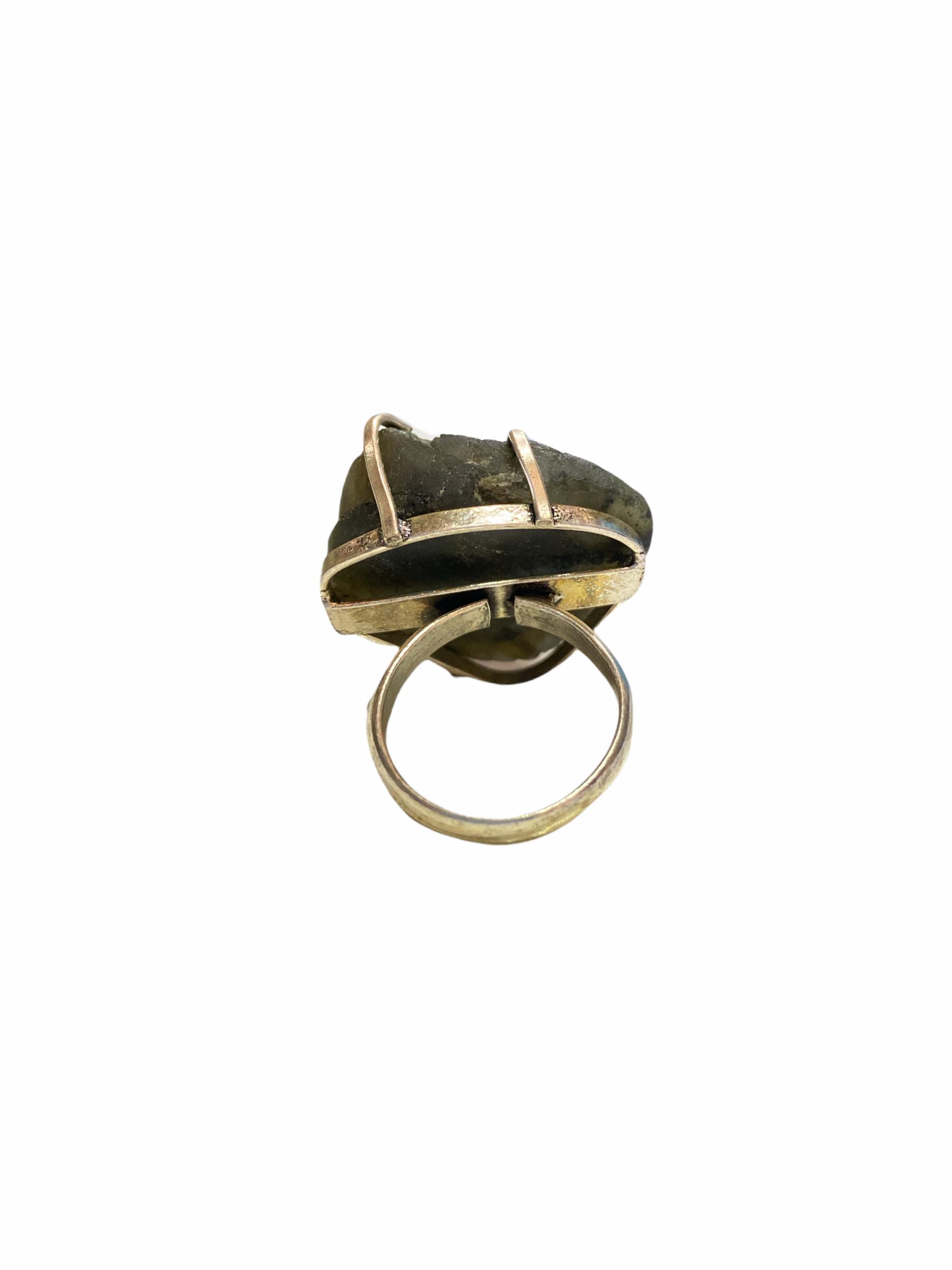 Δαχτυλίδι Χειροποίητο Ακατέργαστο Με Λαμπραδορίτη Ασημί