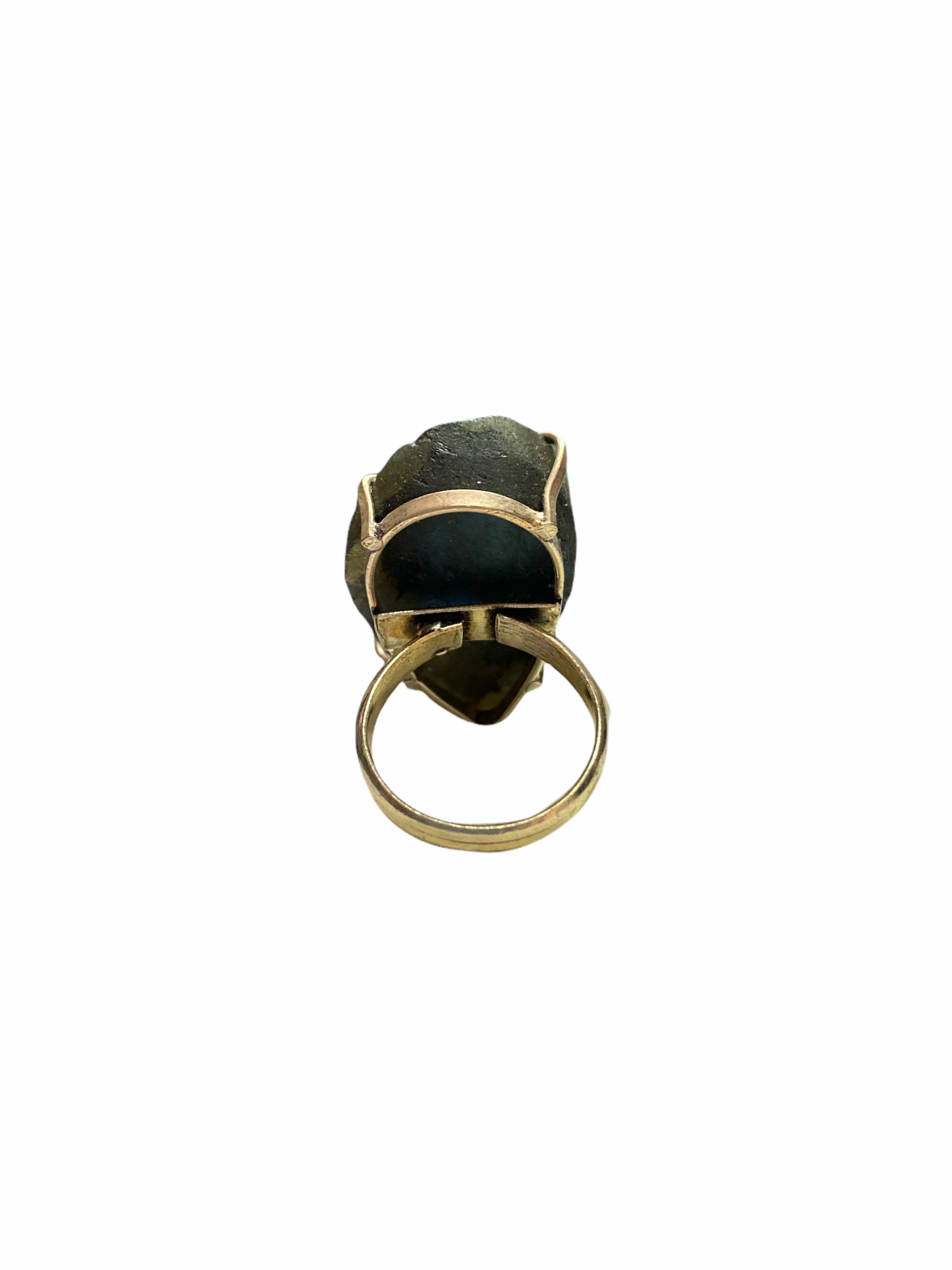 Δαχτυλίδι Χειροποίητο Ακατέργαστο Με Μπλε Λαμπραδορίτη Ασημί