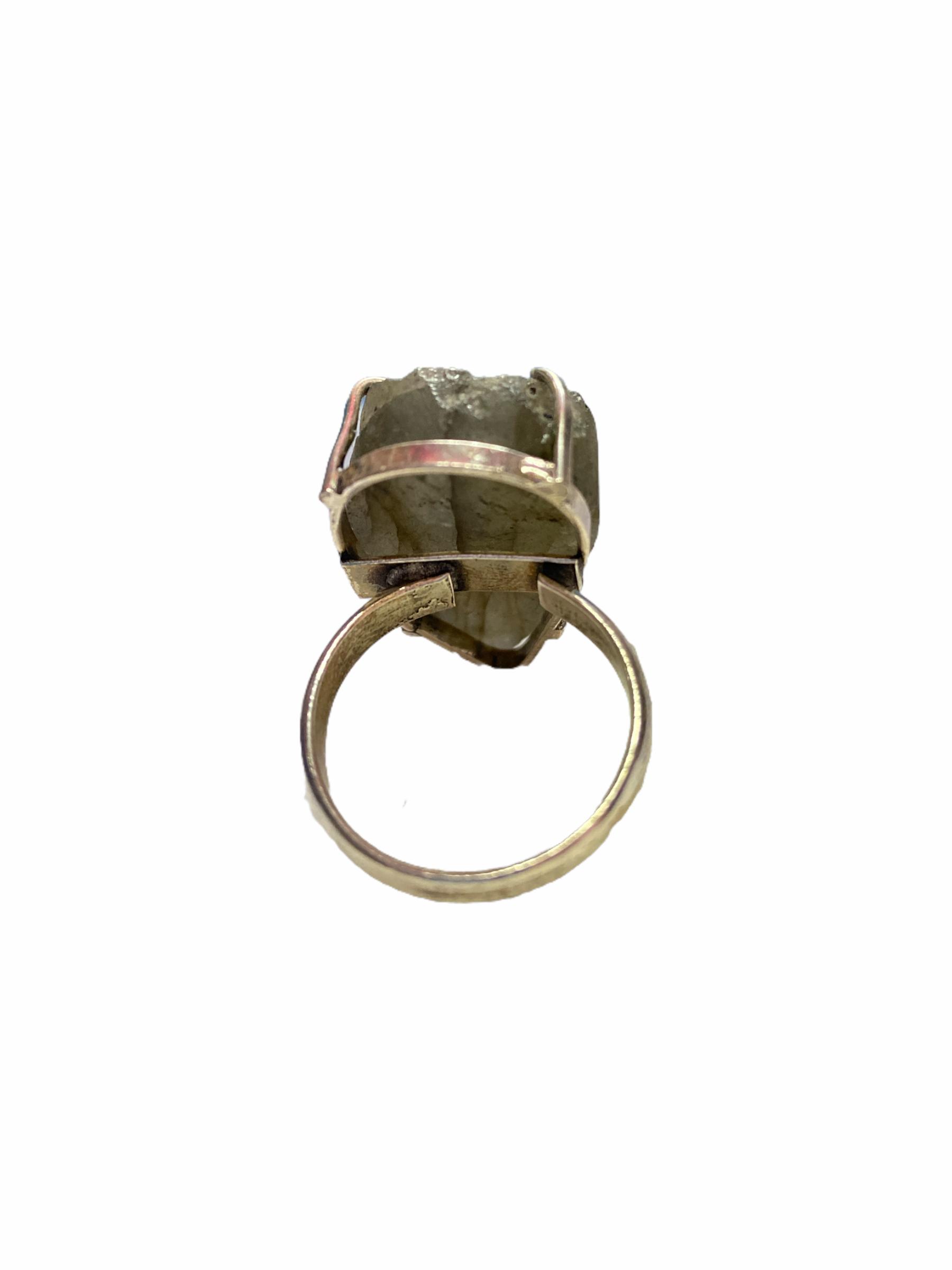 Δαχτυλίδι Χειροποίητο Ακατέργαστο Με Μωβ Λαμπραδορίτη Ασημί