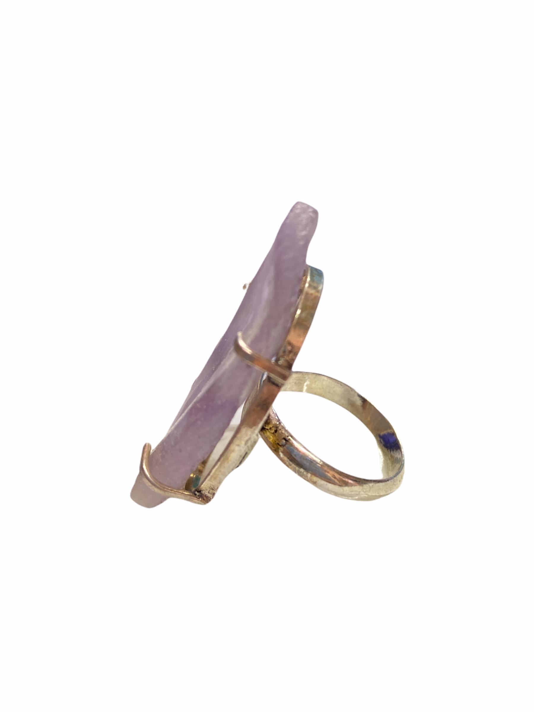Δαχτυλίδι Χειροποίητο Ακατέργαστο Με Χαλαζία Ασημί