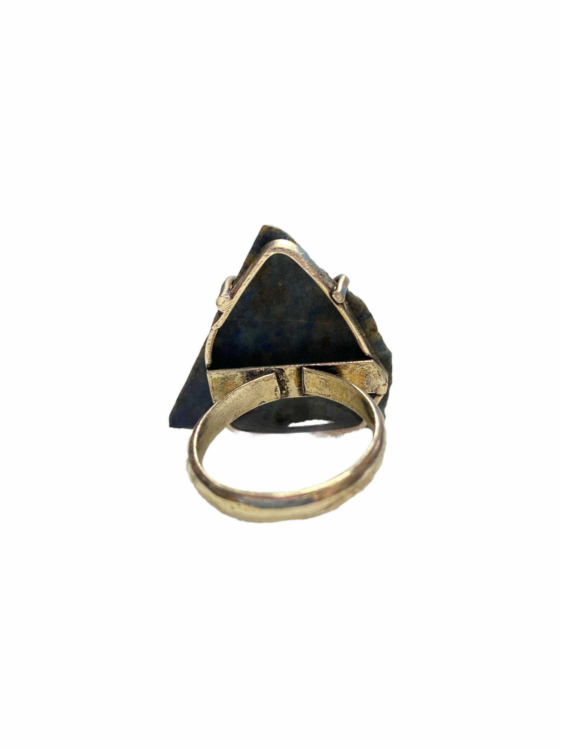 Δαχτυλίδι Χειροποίητο Με Λάπις Λάζουλι Σε Χρώμα Ασημί
