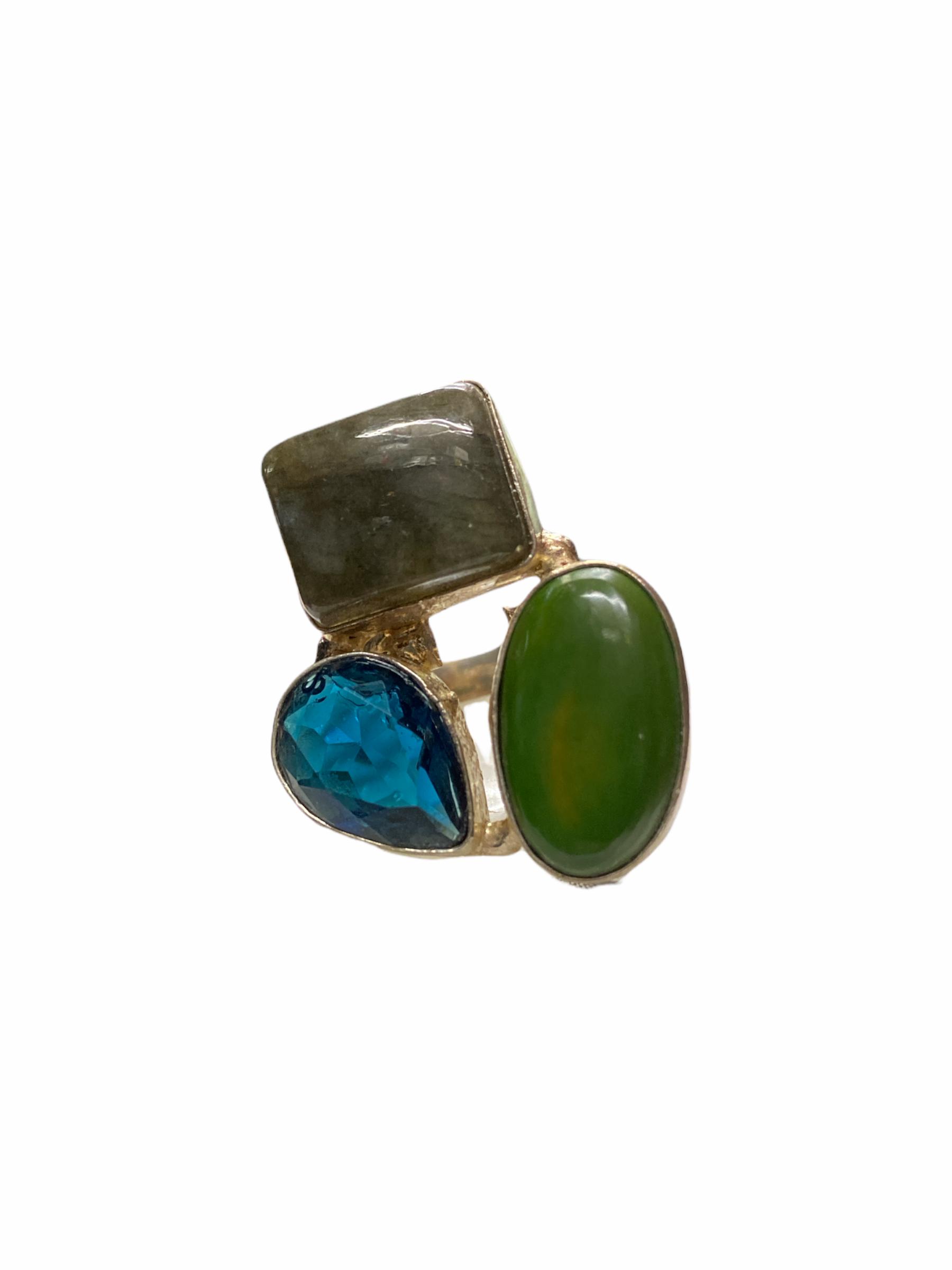Δαχτυλίδι Χειροποίητο Με Κρύσταλλο-Λαμπαδορίτη-Ίασπι Σε Χρώμα Ασημί