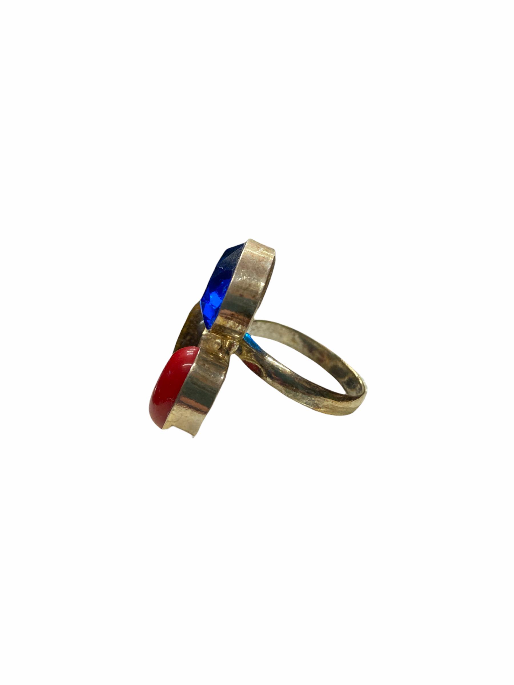 Δαχτυλίδι Χειροποίητο Με Κρύσταλλο-Κορνεόλη-Ίασπι Σε Χρώμα Ασημί