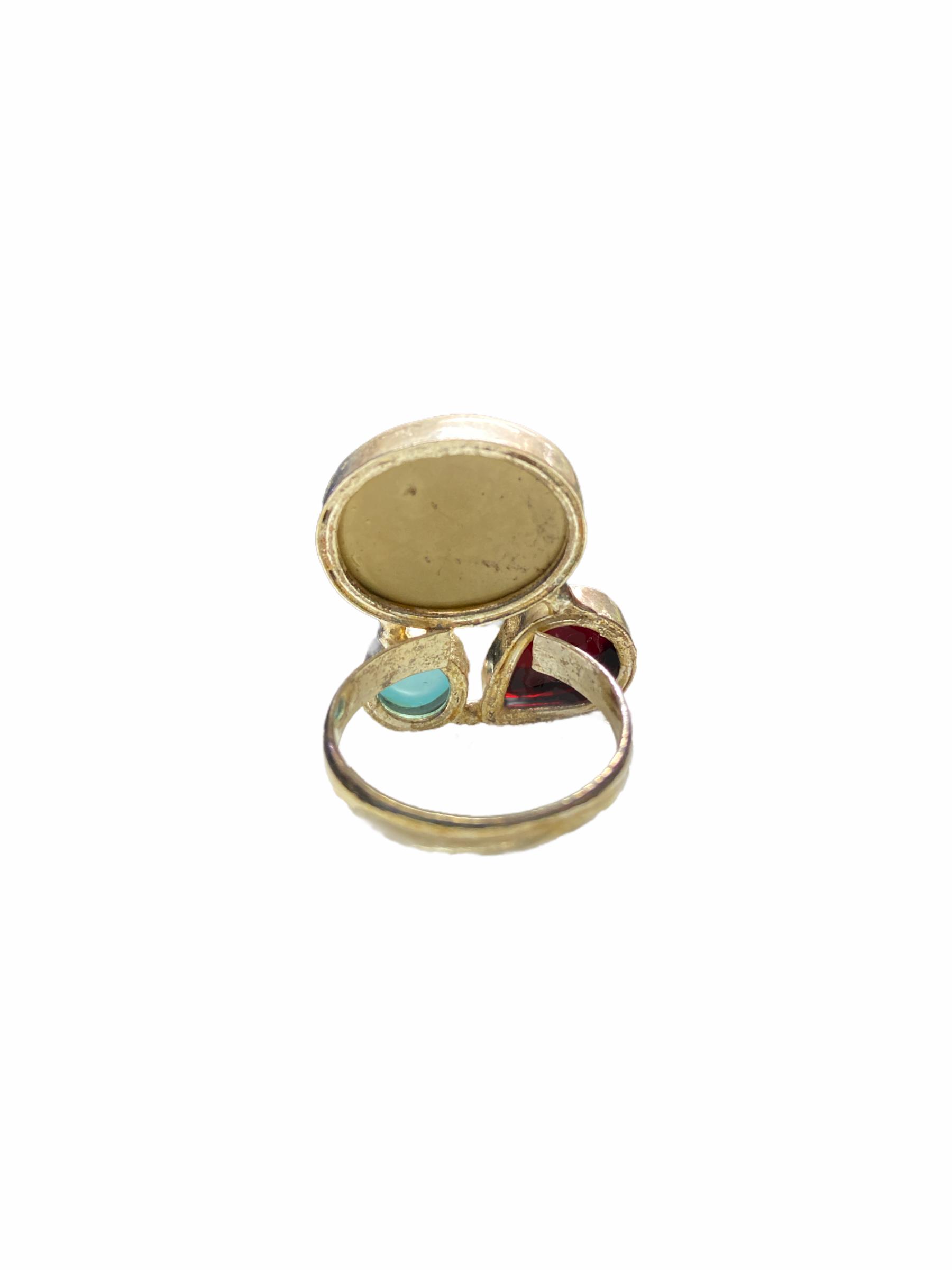 Δαχτυλίδι Χειροποίητο Με Κρύσταλλο-Οπάλιο-Ίασπι Σε Χρώμα Ασημί