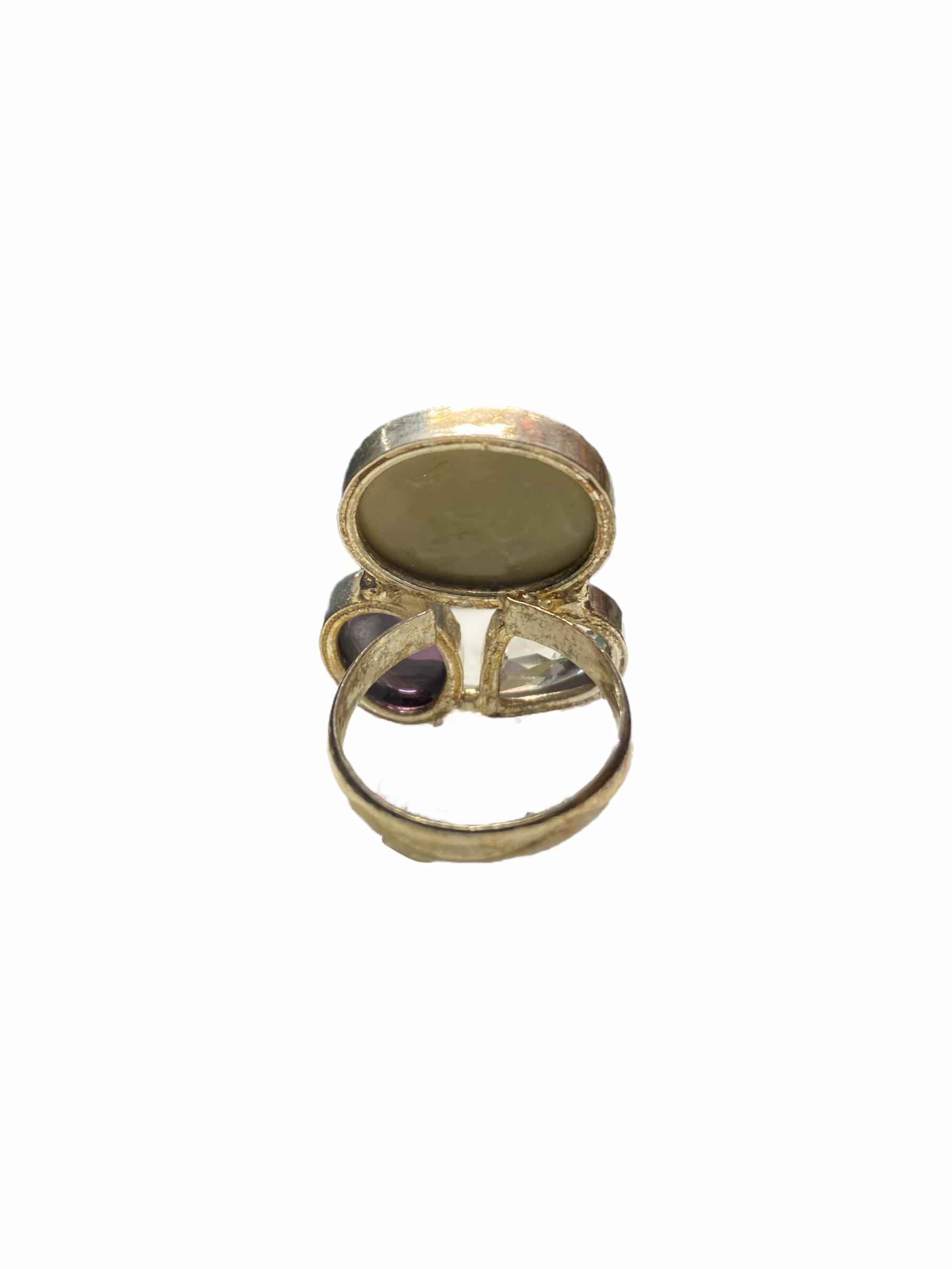 Δαχτυλίδι Χειροποίητο Με Κρύσταλλο-Όνυχα-Ίασπι Σε Χρώμα Ασημί