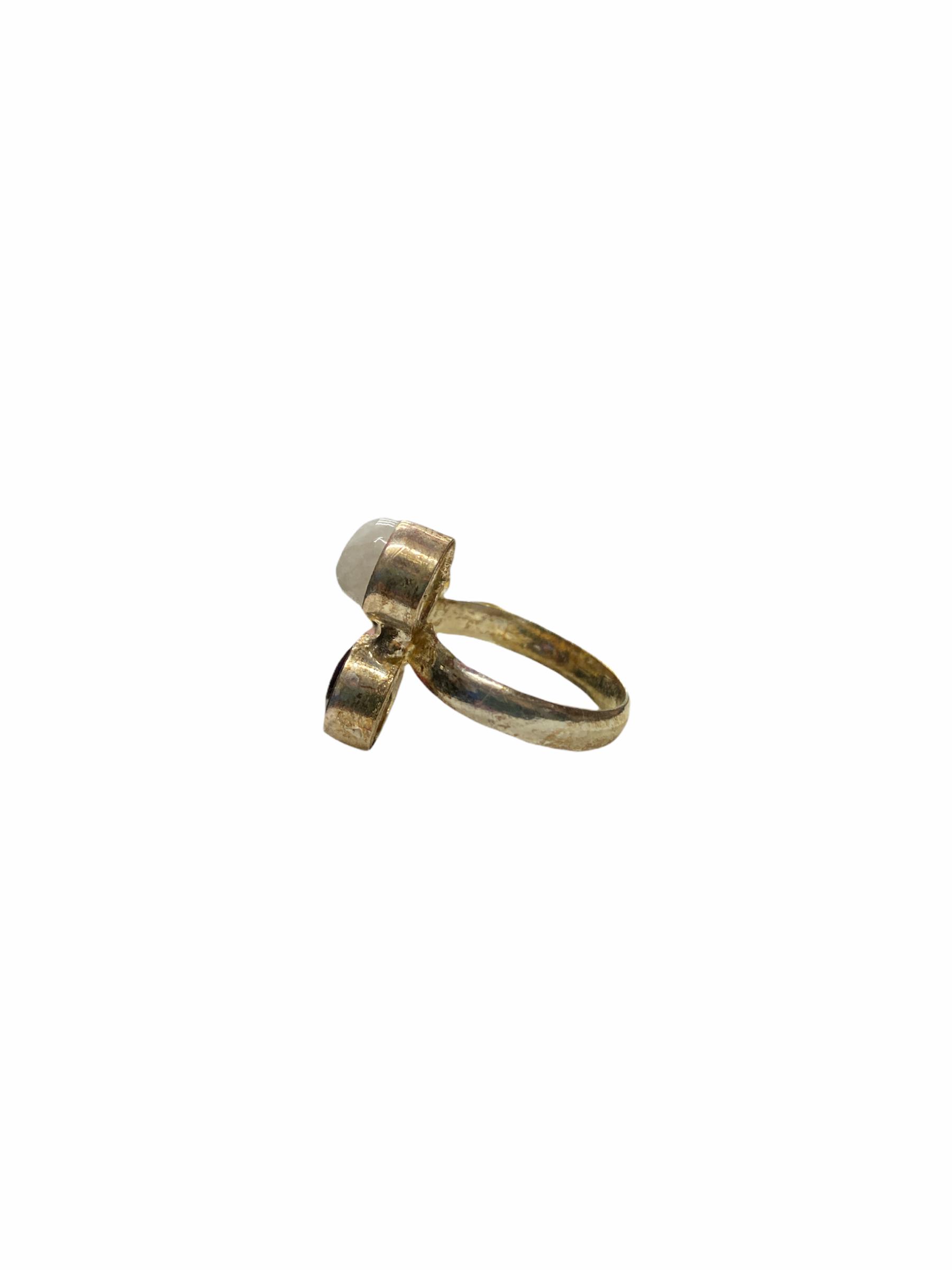 Δαχτυλίδι Χειροποίητο Με Κρύσταλλο-Όνυχα-Χαλαζία Σε Χρώμα Ασημί