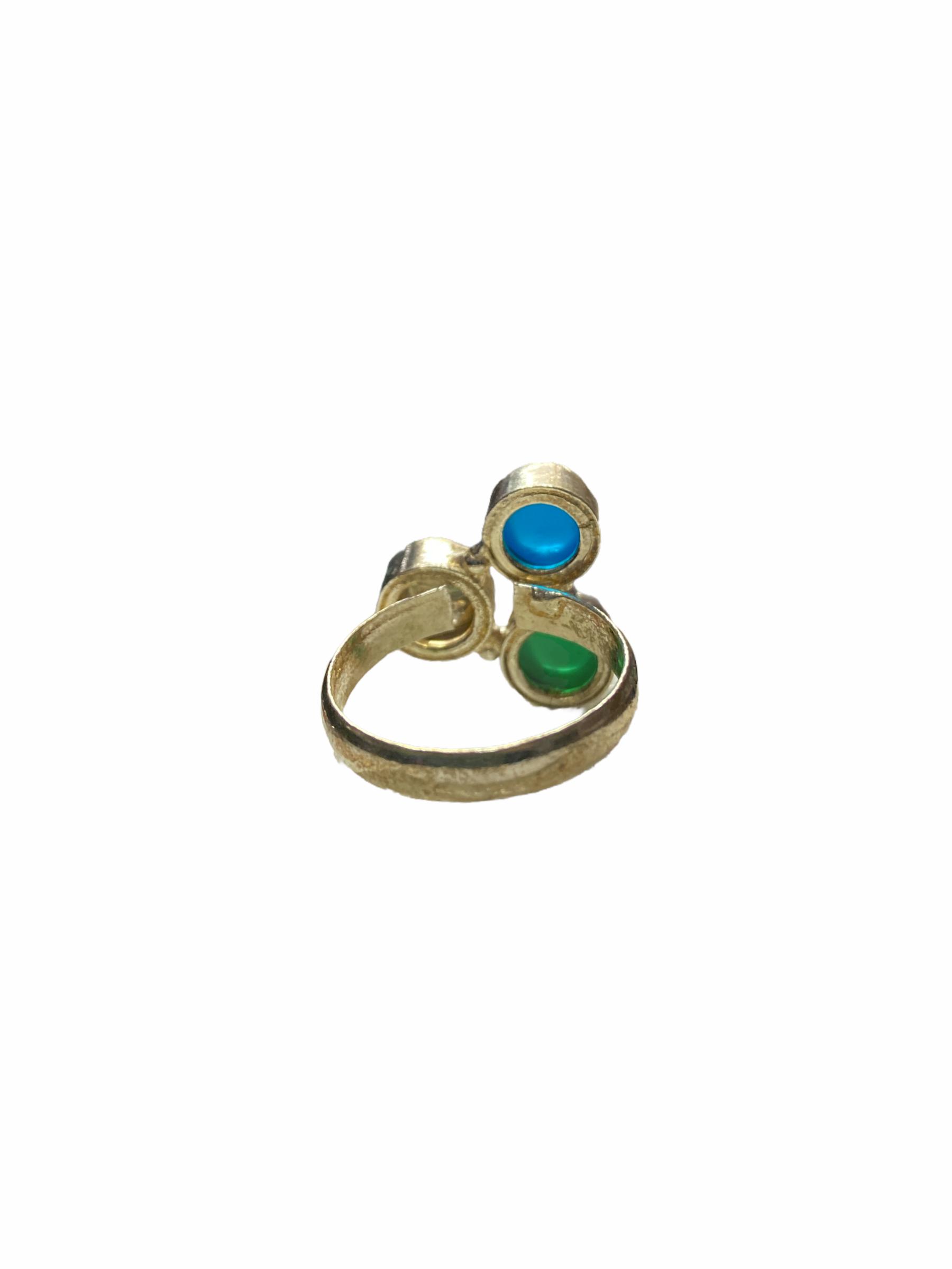 Δαχτυλίδι Χειροποίητο Με Κρύσταλλο-Νεφρίτη-Οπάλιο Σε Χρώμα Ασημί