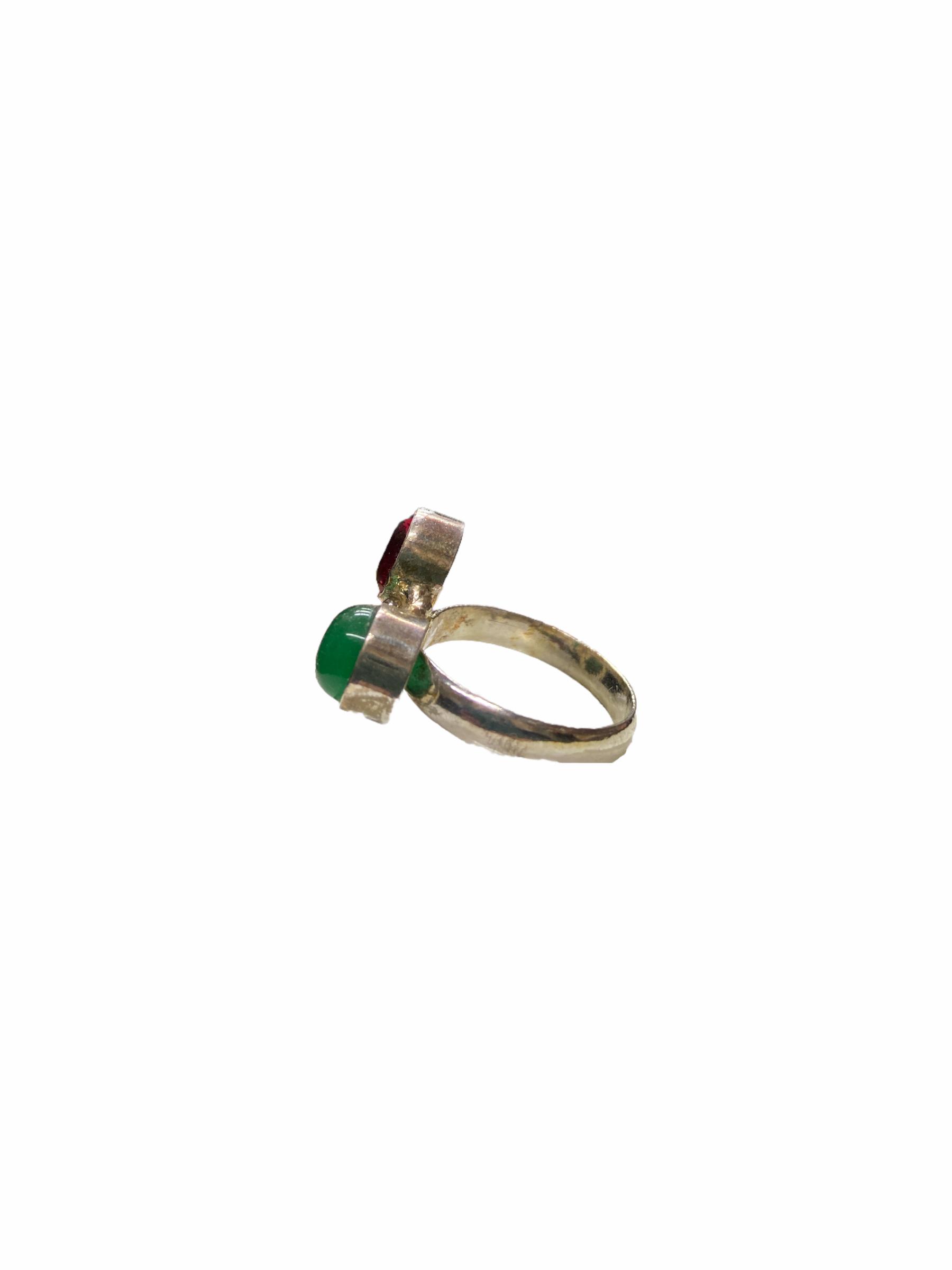 Δαχτυλίδι Χειροποίητο Με Κρύσταλλο-Νεφρίτη-Τιρκουάζ Σε Χρώμα Ασημί