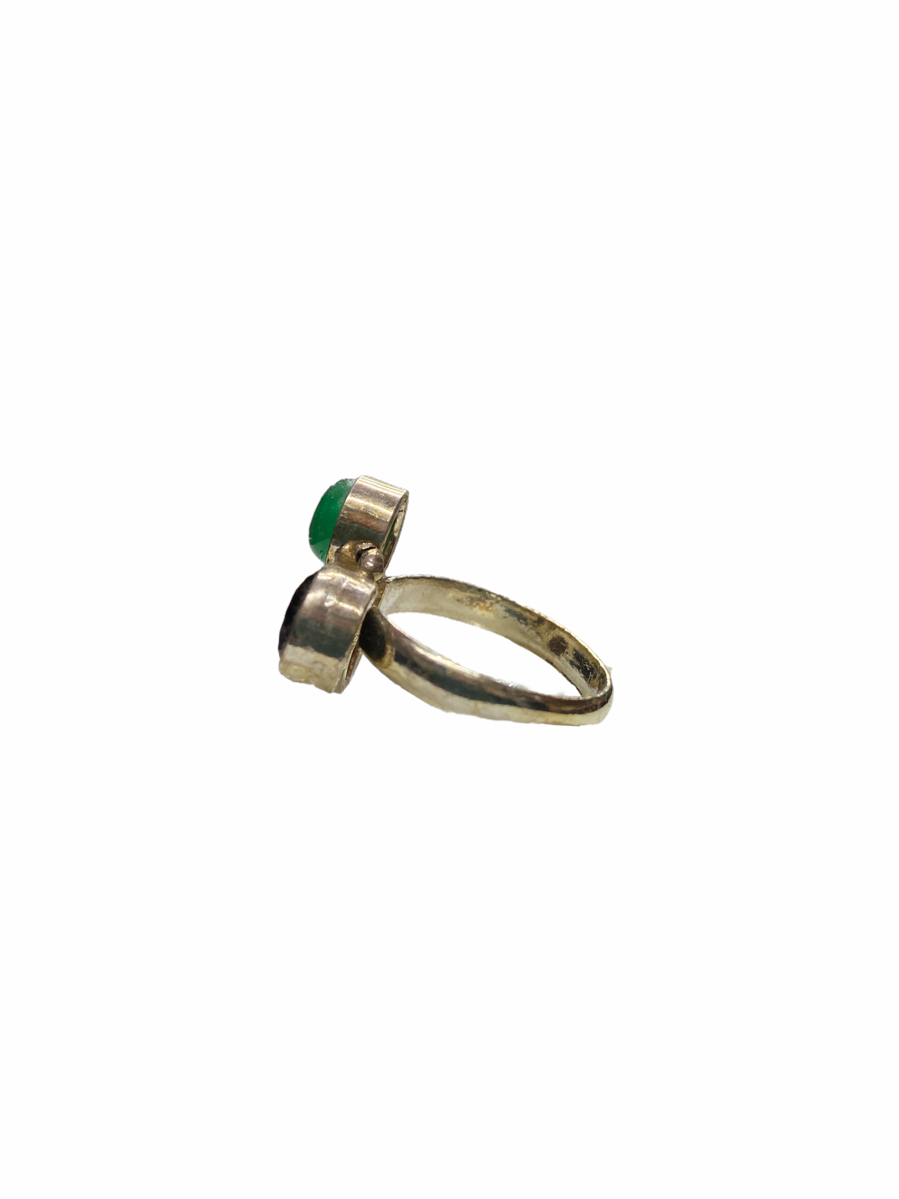 Δαχτυλίδι Χειροποίητο Με Κρύσταλλο-Νεφρίτη-Κορνεόλη Σε Χρώμα Ασημί